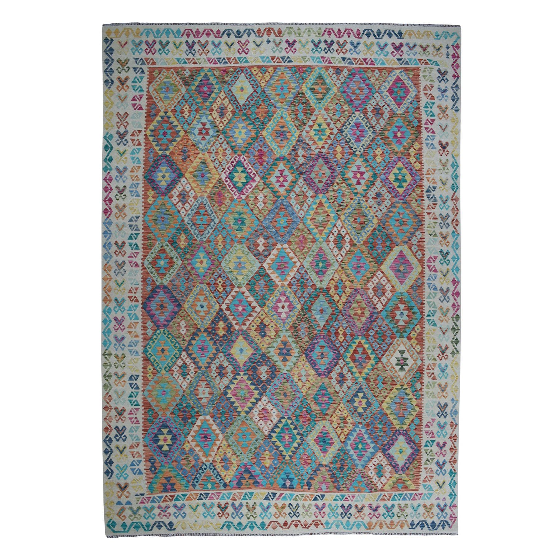 "9'10""x13'1"" Veggie Dyes Afghan Kilim Pure Wool Hand Woven Oriental Rug"