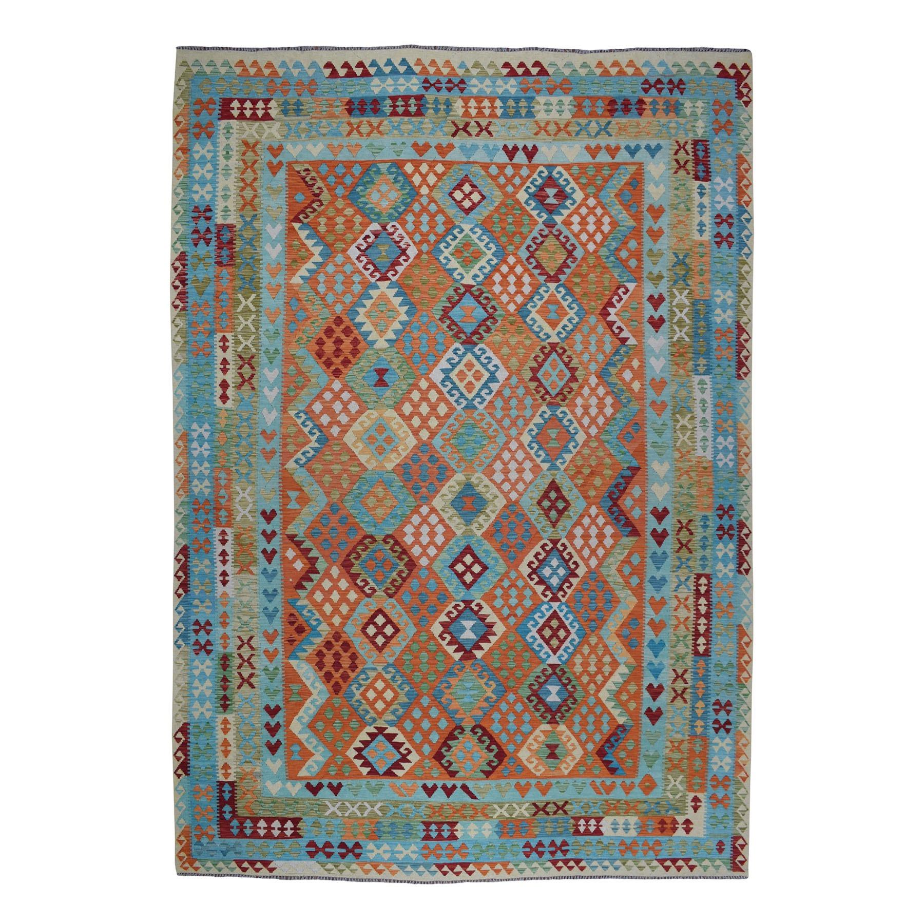 "9'9""X12'7"" Colorful Afghan Kilim Pure Wool Hand Woven Oriental Rug moaeba90"
