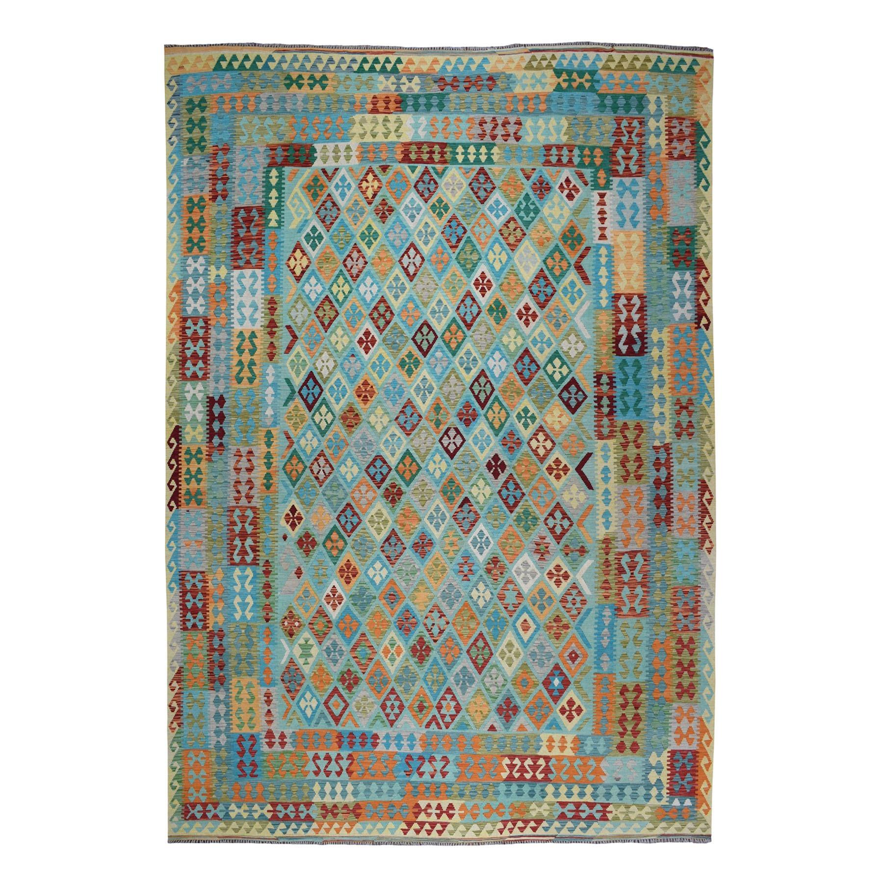 "10'6""X13'1"" Hand Woven Colorful Afghan Kilim Pure Wool Oriental Rug moaeba9c"