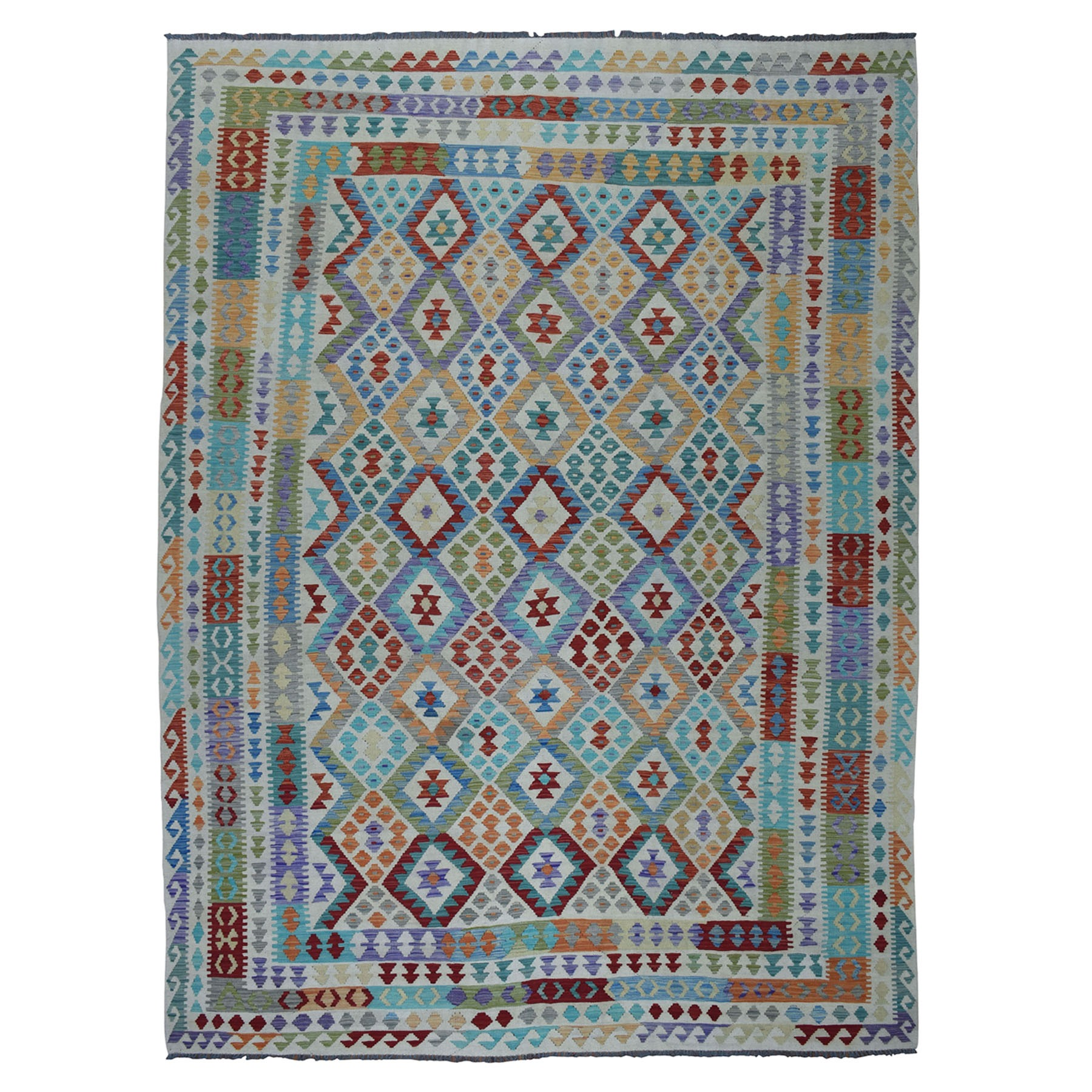 "8'7""x11'8"" Colorful Afghan Kilim Pure Wool Hand Woven Oriental Rug"