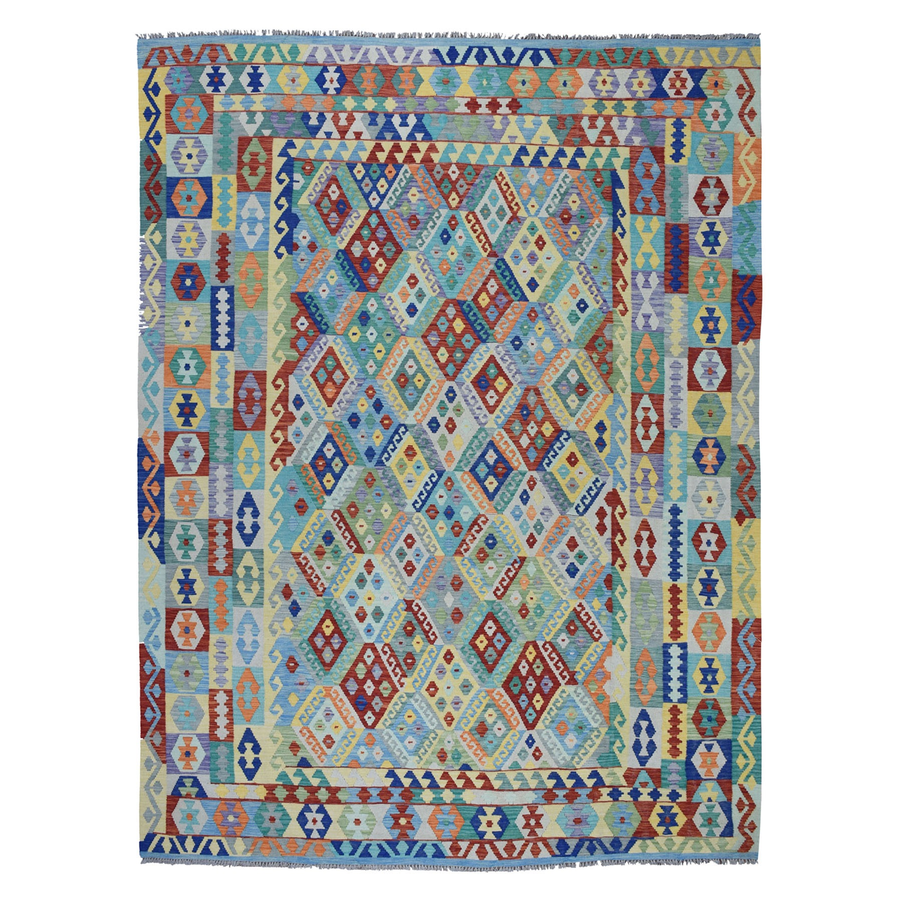"8'10""x11'2"" Colorful Afghan Kilim Pure Wool Hand Woven Oriental Rug"
