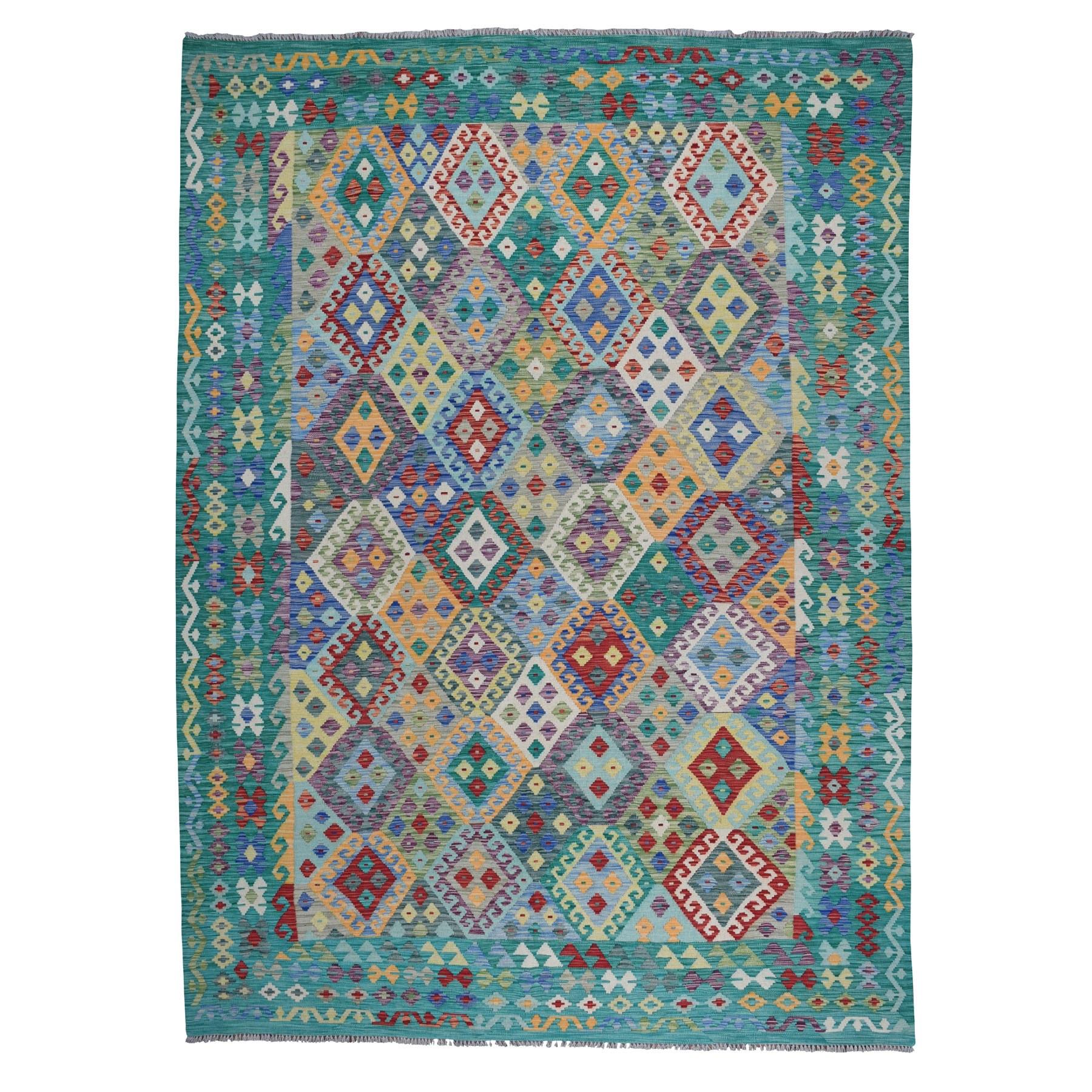 "8'5""x11'2"" Veggie Dyes Afghan Killim Pure Wool Hand Woven Oriental Rug"