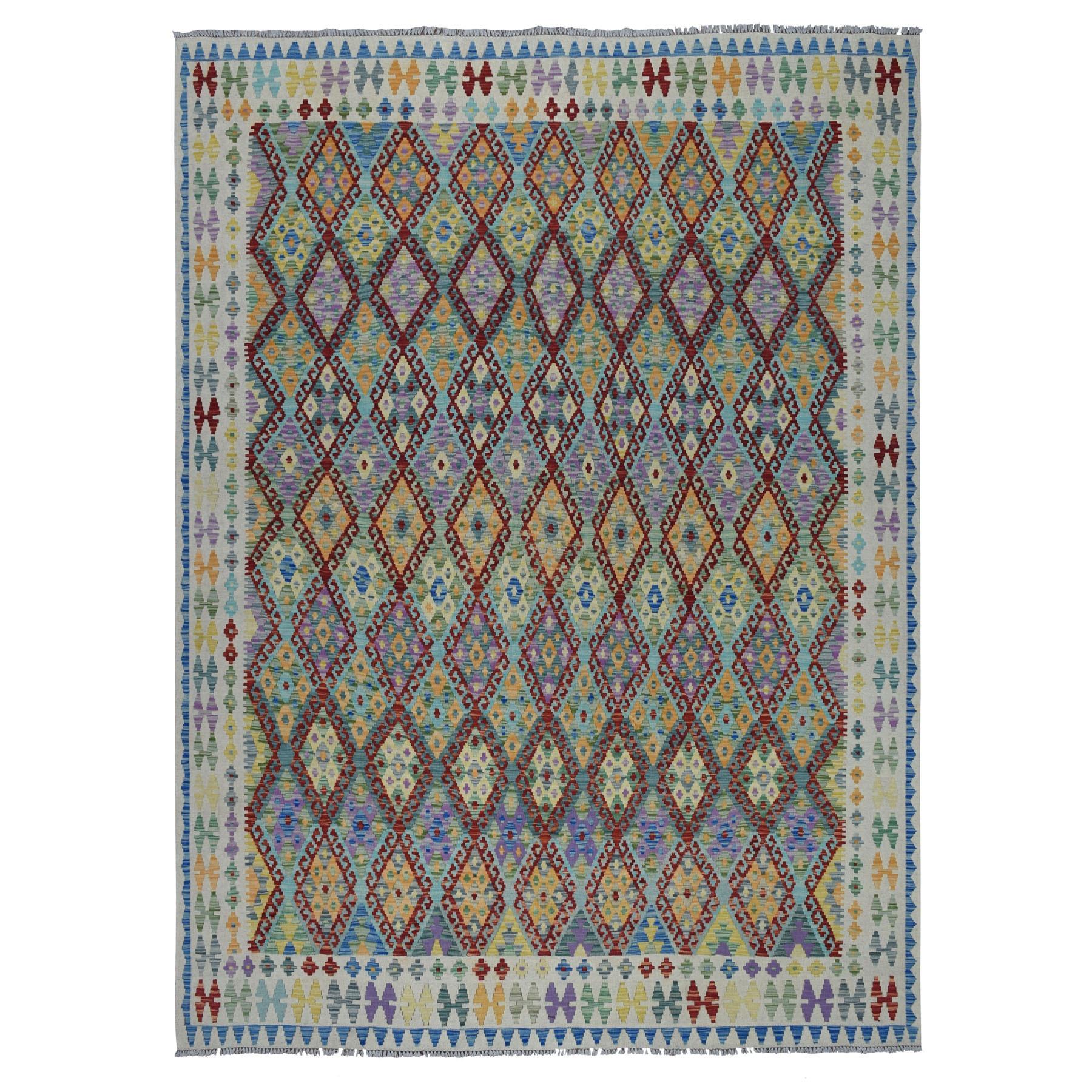 "8'8""x9'8"" Veggie Dyes Afghan Killim Pure Wool Hand Woven Oriental Rug"
