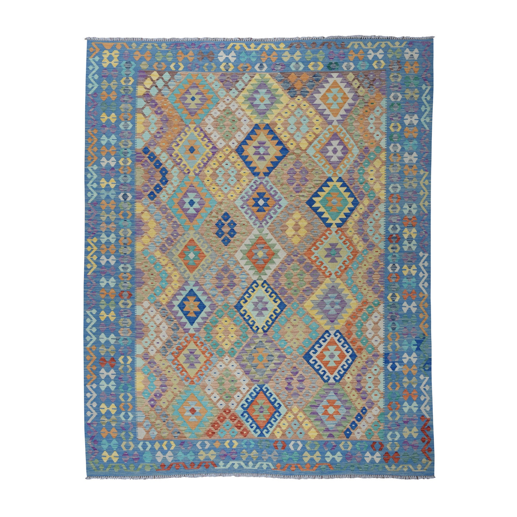 "8'5""x9'8"" Colorful Afghan Killim Pure Wool Hand Woven Oriental Rug"