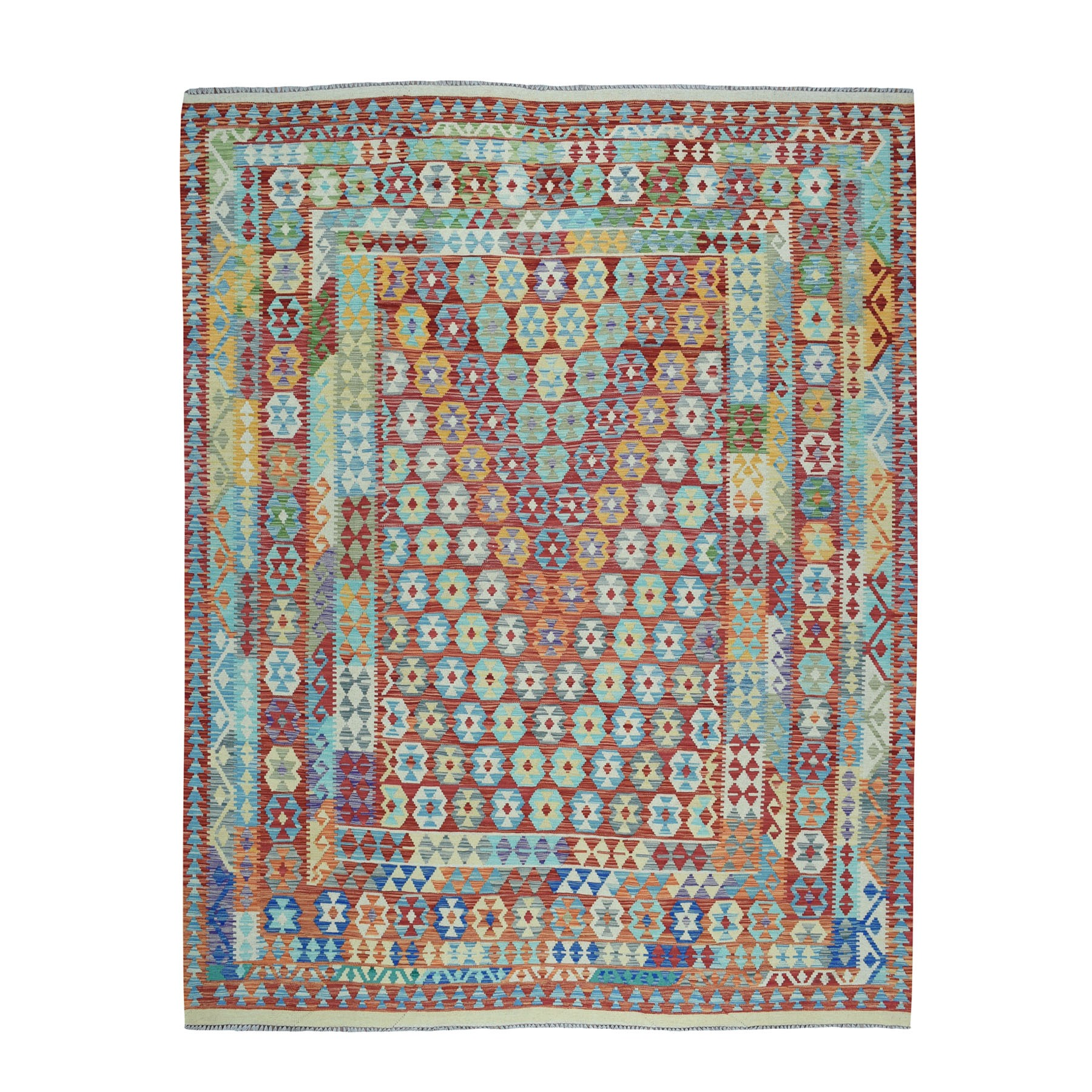 "8'3""x9'8"" Colorful Afghan Pure Wool Killim Hand Woven Oriental Rug"