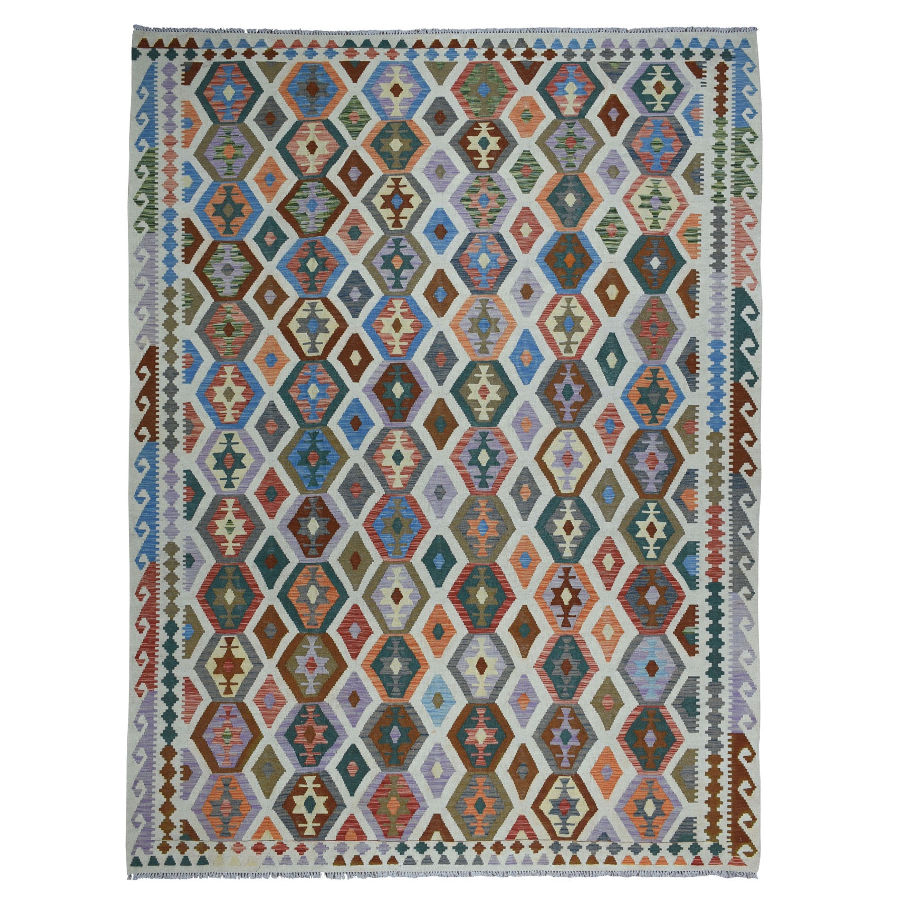 "8'5""x11'6"" Veggie Dyes Afghan Killim Pure Wool Hand Woven Oriental Rug"