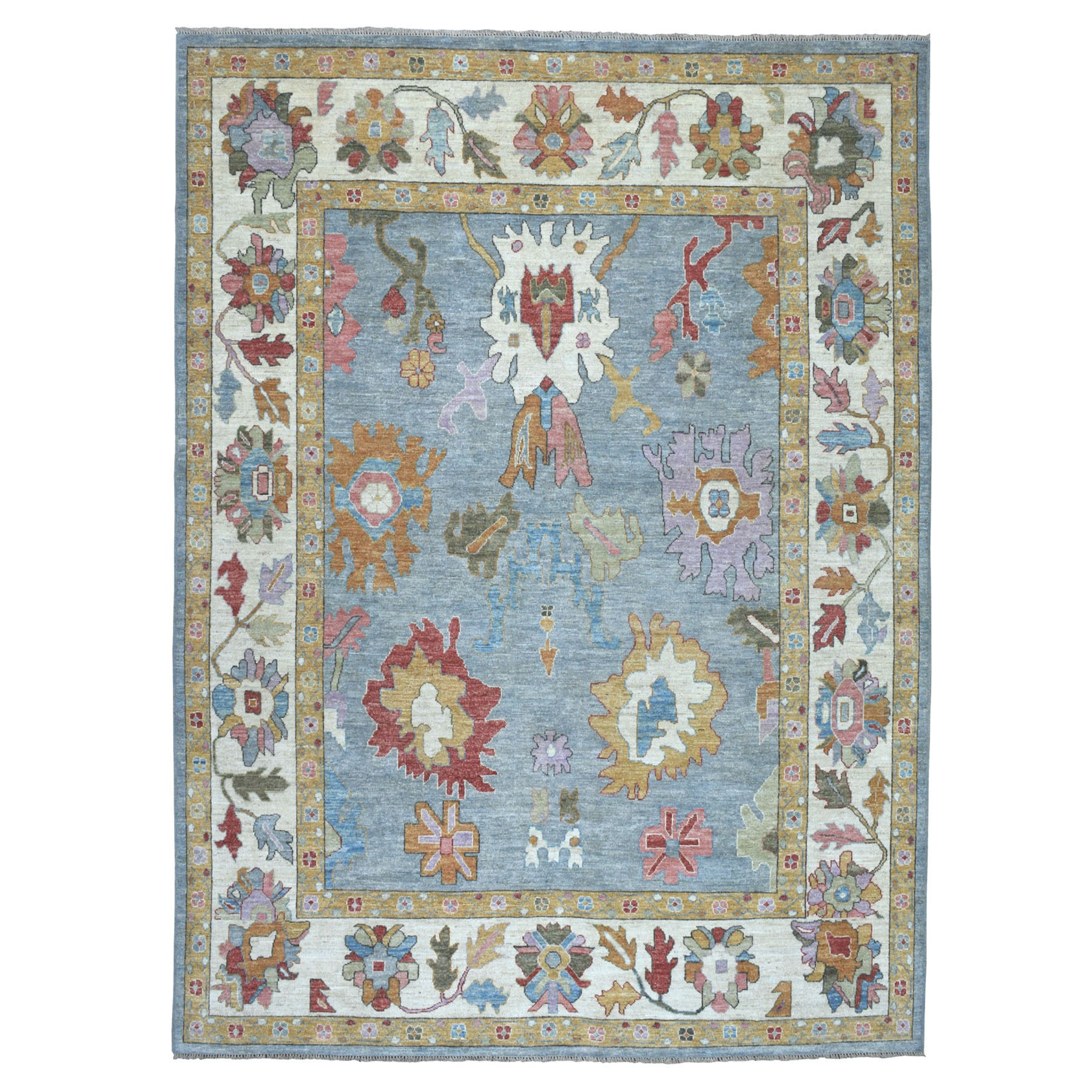 "9'X11'9"" Blue Angora Oushak Pure Wool Hand Knotted Oriental Rug moaebbbb"