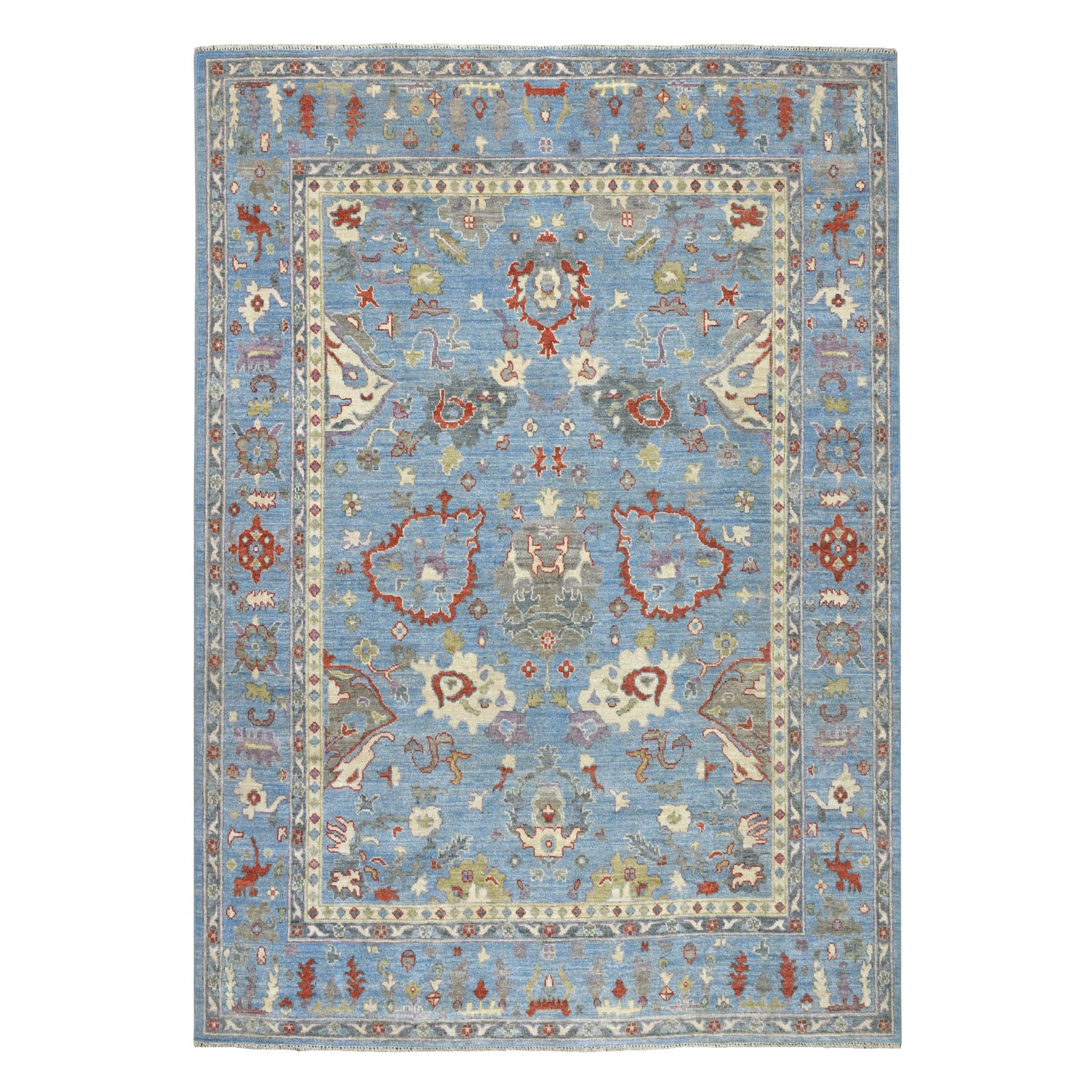 "8'X9'7"" Blue Angora Oushak Pure Wool Hand Knotted Oriental Rug moaebbb7"