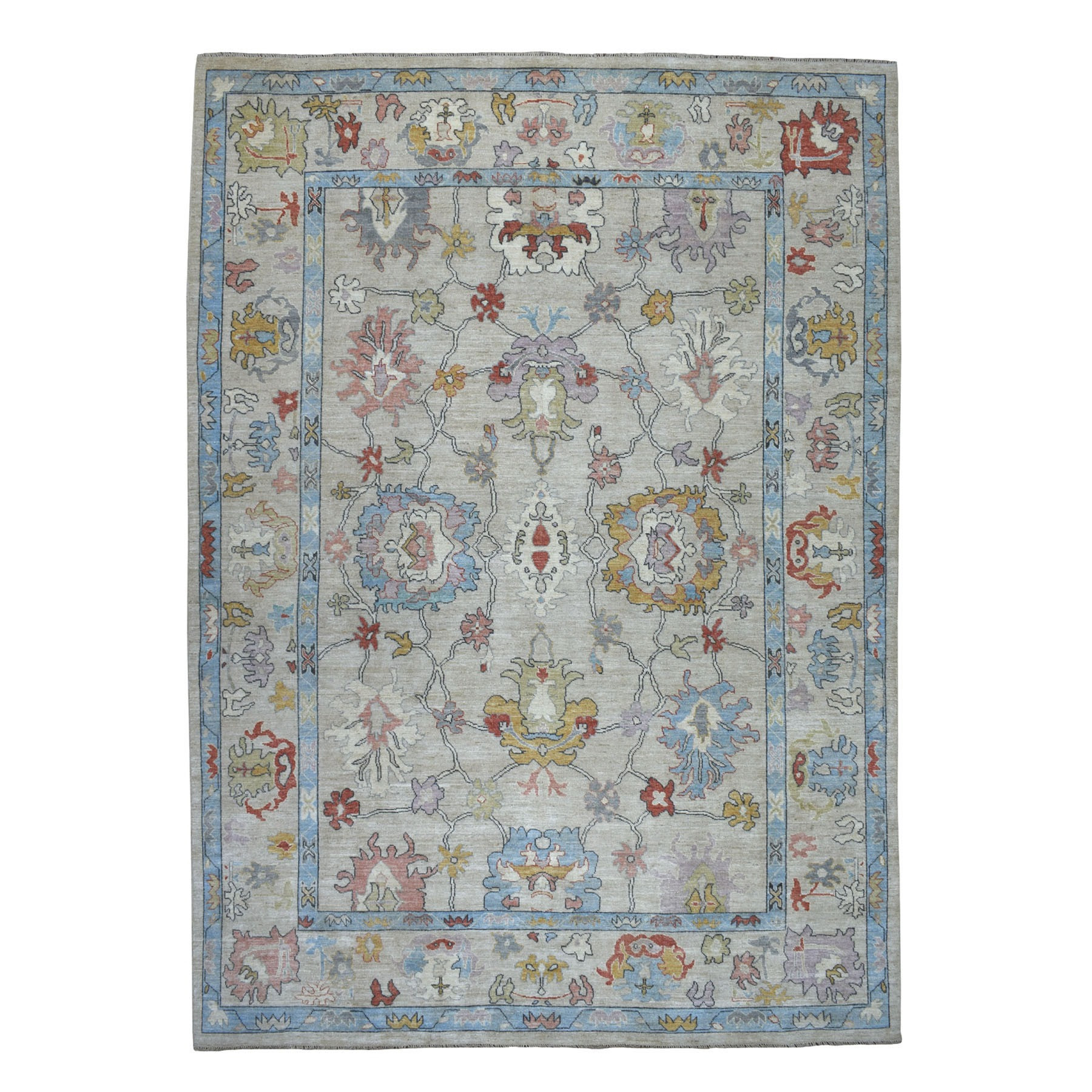 """9'9""""X13'9"""" Gray Angora Oushak Pure Wool Hand Knotted Oriental Rug moaebbb9"""