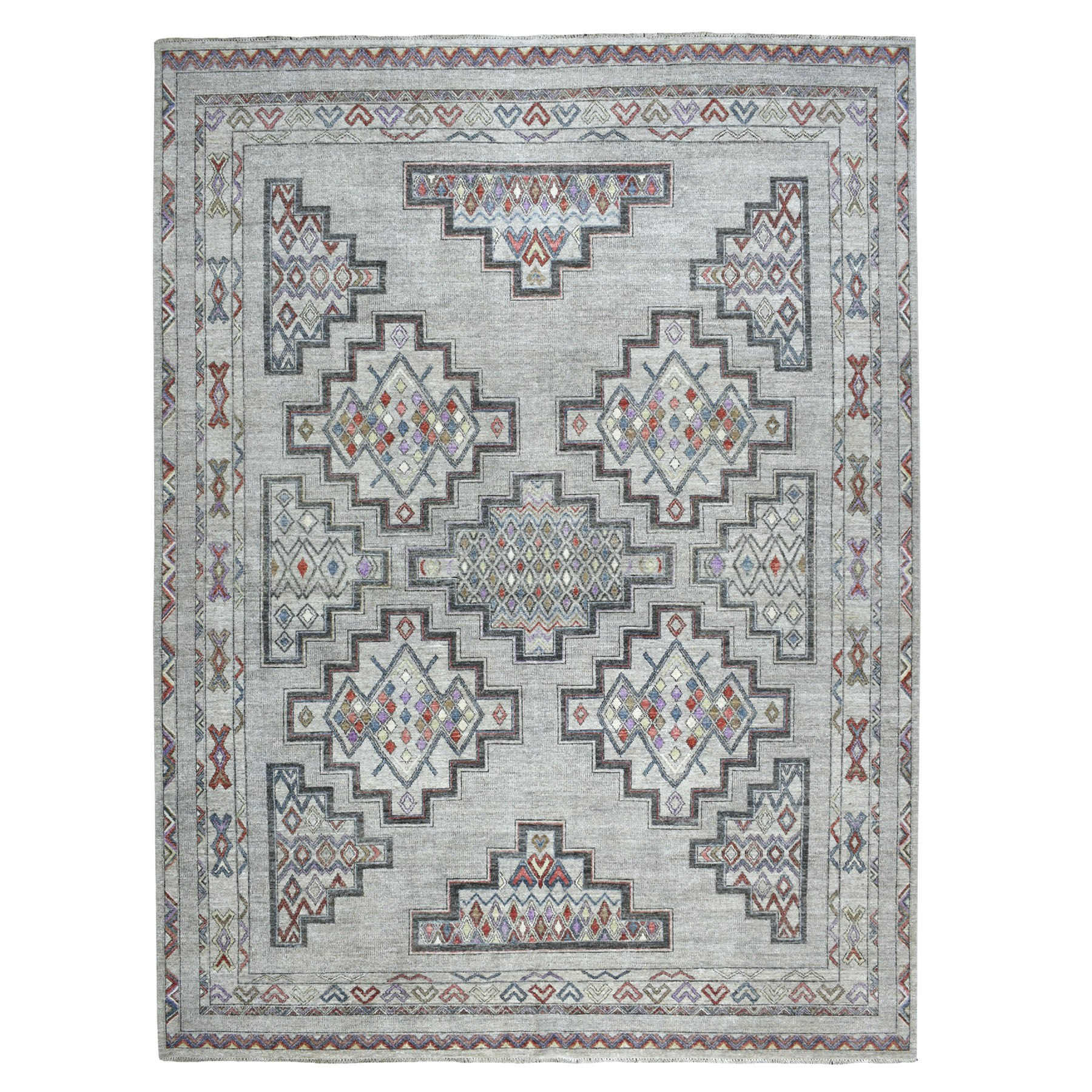 "9'X12'1"" Peshawar With Berber Motifs,Pop Of Color Pure Wool Hand Knotted Oriental Rug moaebbce"