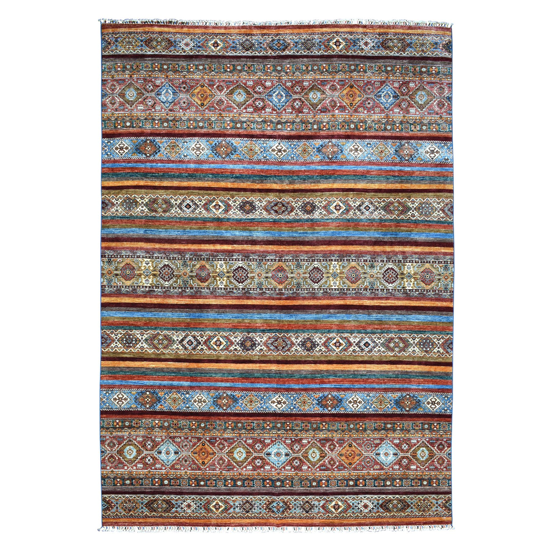 "10'X13'8"" Khorjin Design Colorful Super Kazak Pure Wool Hand Knotted Oriental Rug moaebbc6"