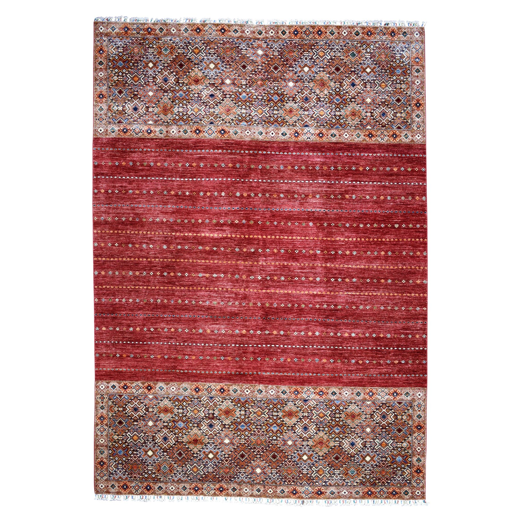 "9'x11'6"" Khorjin Design Red Super Kazak Pure Wool Hand Knotted Oriental Rug"