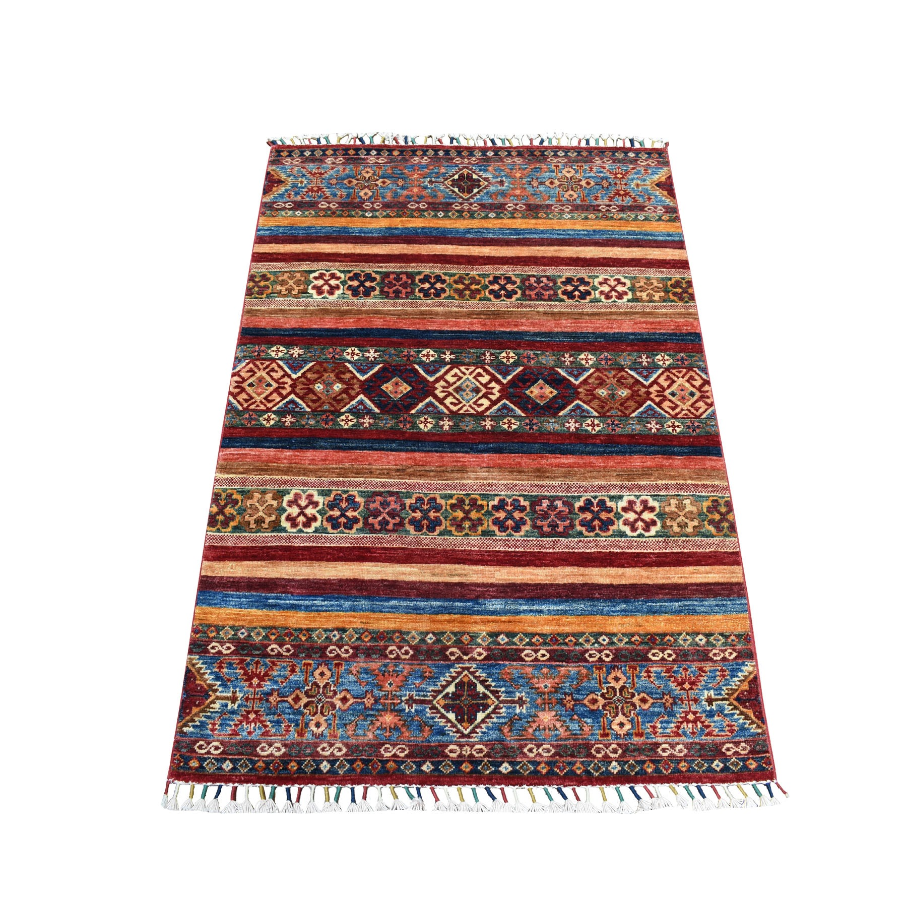 "3'4""X4'7"" Khorjin Design Colorful Super Kazak Pure Wool Hand Knotted Oriental Rug moaebbd0"