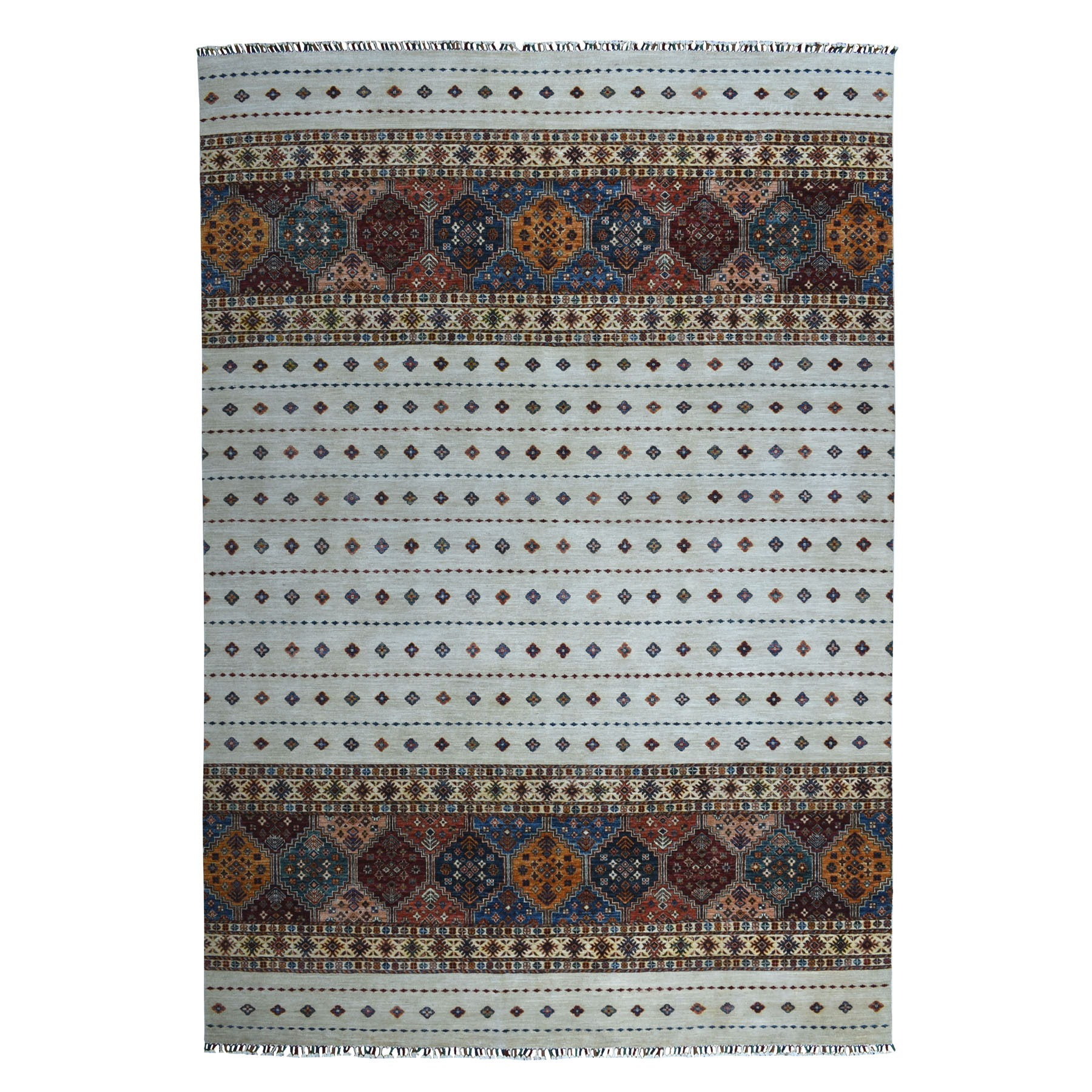 "8'8""x12'3"" Khorjin Design Ivory Super Kazak Pure Wool Hand Knotted Oriental Rug"