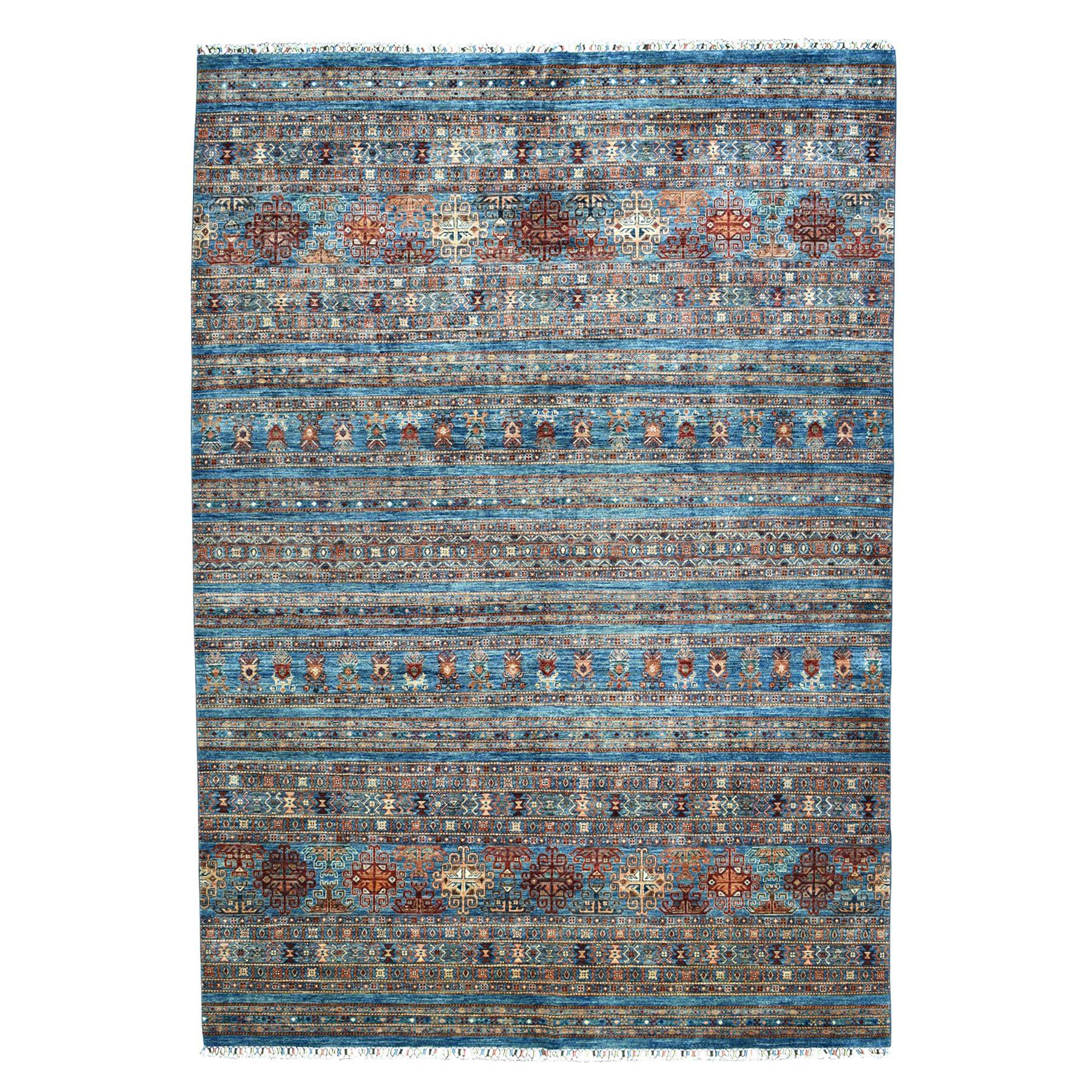 "8'10""X11'10"" Khorjin Design Blue Super Kazak Pure Wool Hand Knotted Oriental Rug moaebbd6"