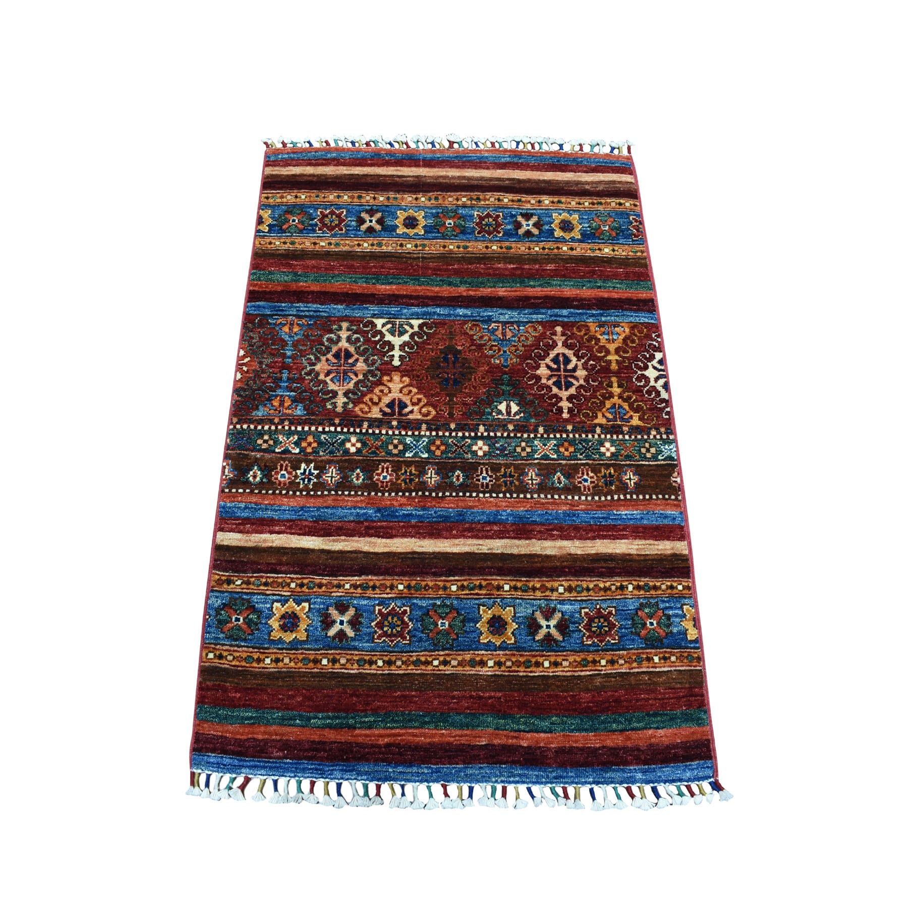 "2'8""X3'7"" Khorjin Design Colorful Super Kazak Pure Wool Hand Knotted Oriental Rug moaebbd7"