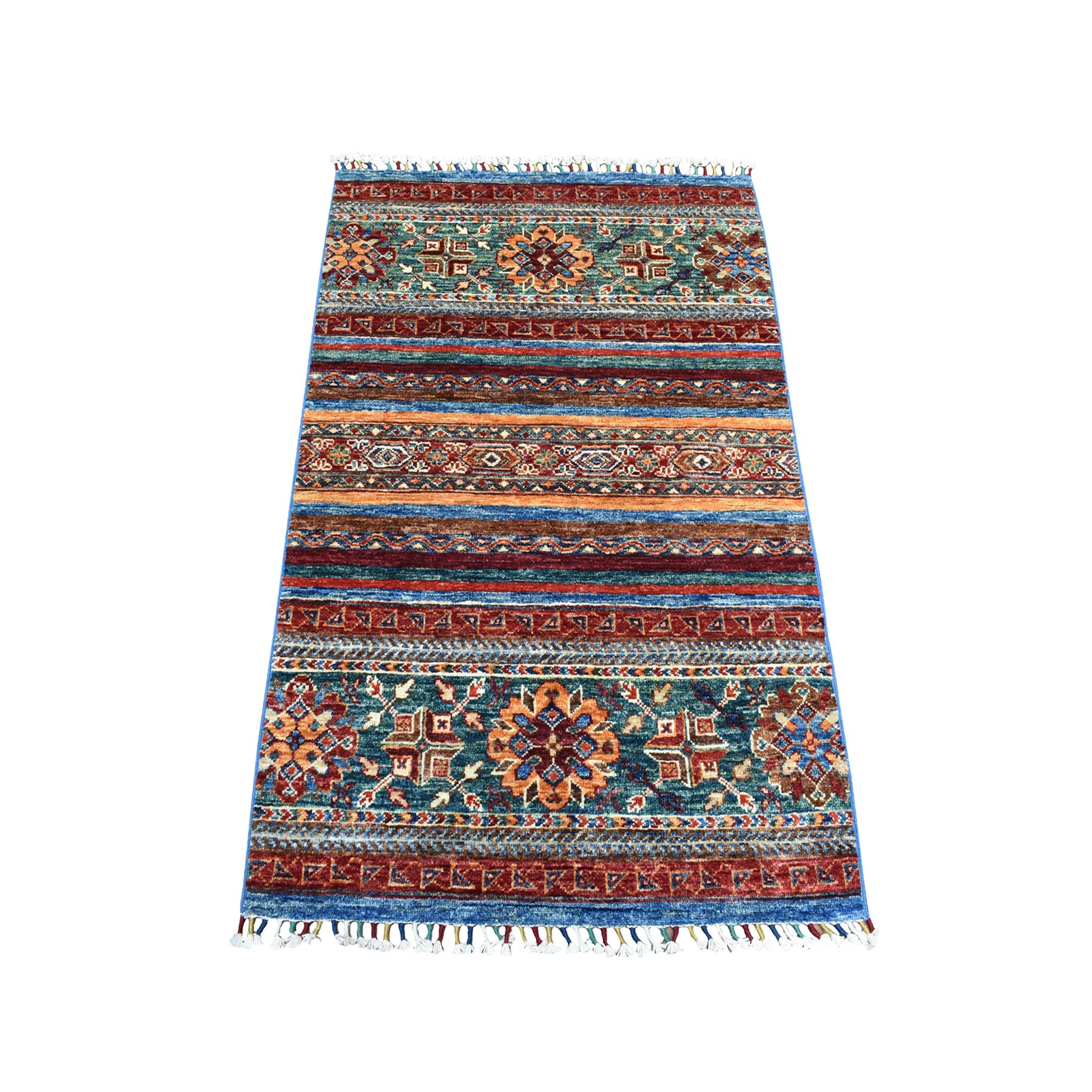 "2'8""X4' Khorjin Design Colorful Super Kazak Pure Wool Hand Knotted Oriental Rug moaebbd9"