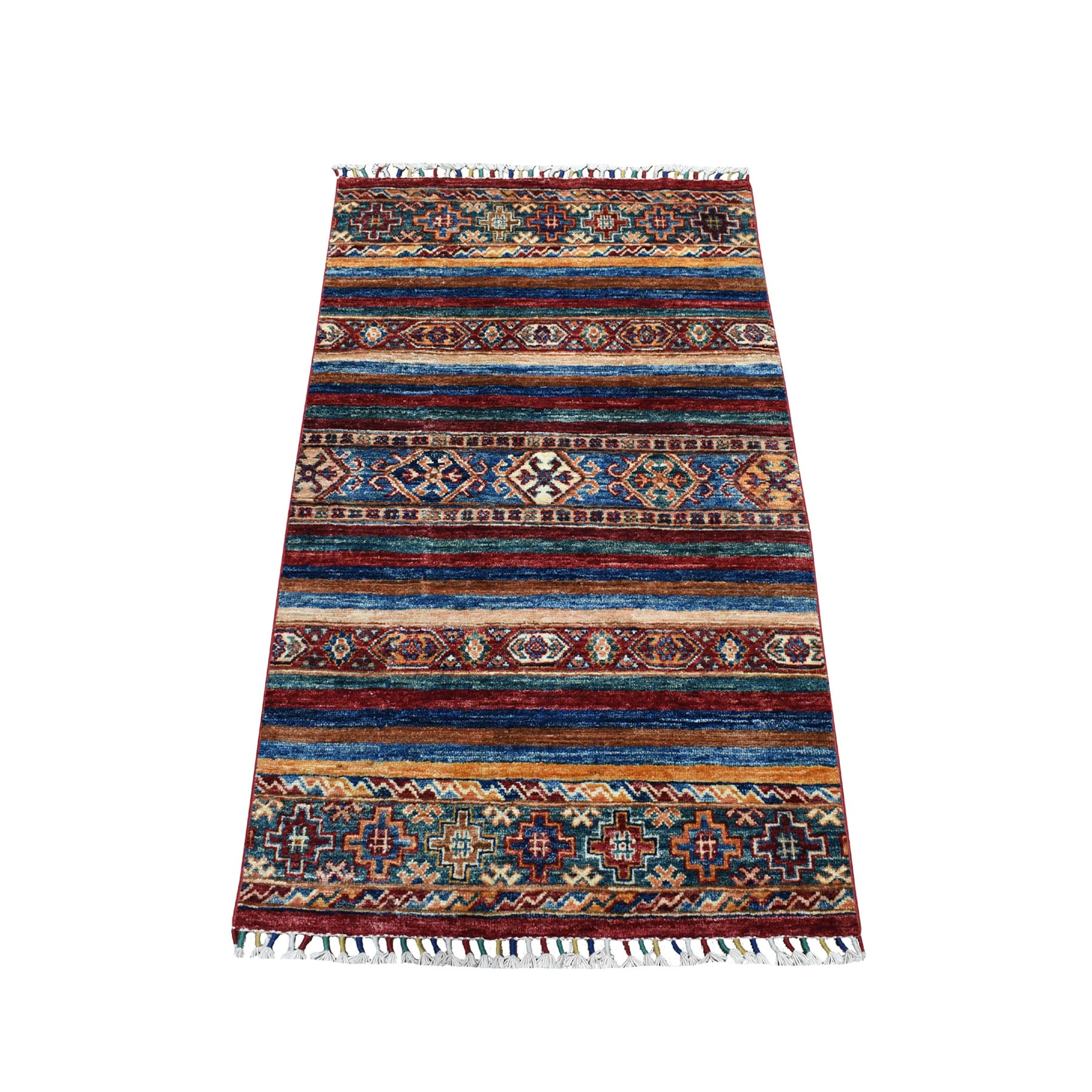 "2'6""X4'3"" Khorjin Design Colorful Super Kazak Pure Wool Hand Knotted Oriental Rug moaebbe0"