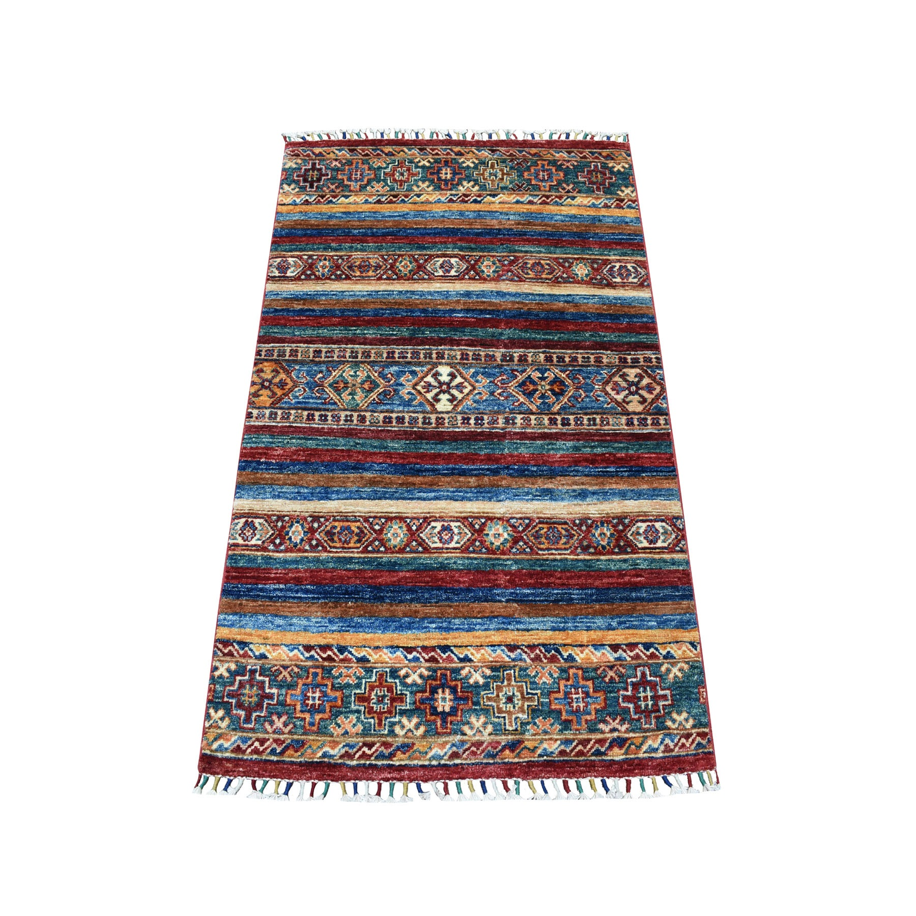 "2'10""X4'4"" Khorjin Design Colorful Super Kazak Pure Wool Hand Knotted Oriental Rug moaebbeb"