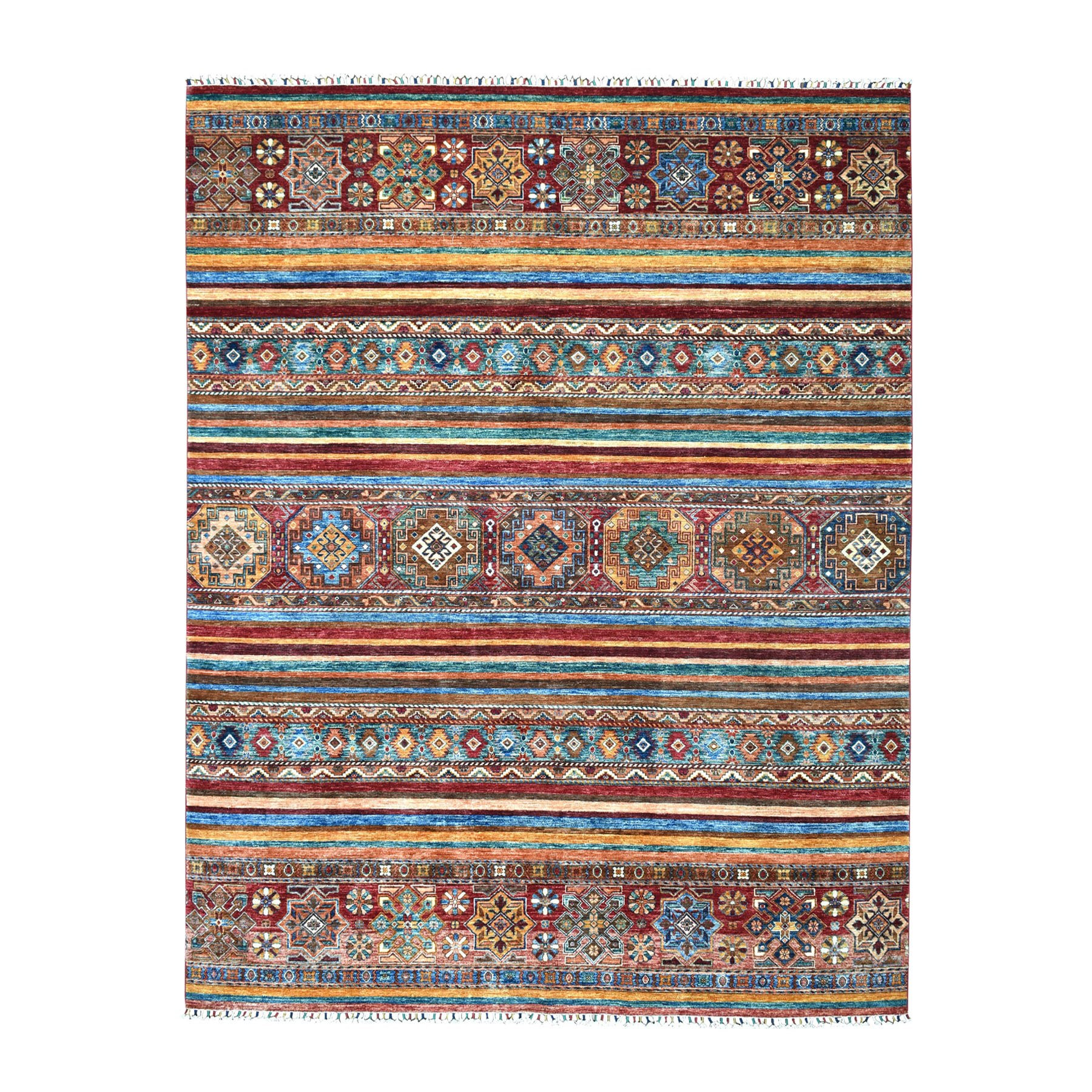 "8'X10'1"" Khorjin Design Colorful Super Kazak Pure Wool Hand Knotted Oriental Rug moaebbed"