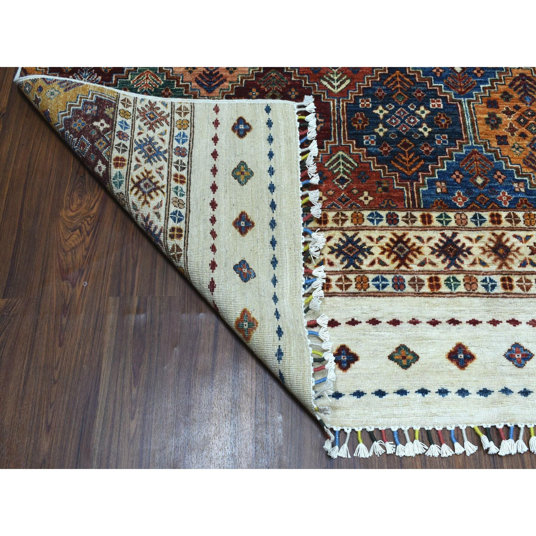 8-3 x9-8  Khorjin Design Ivory Super Kazak Pure Wool Hand Knotted Oriental Rug