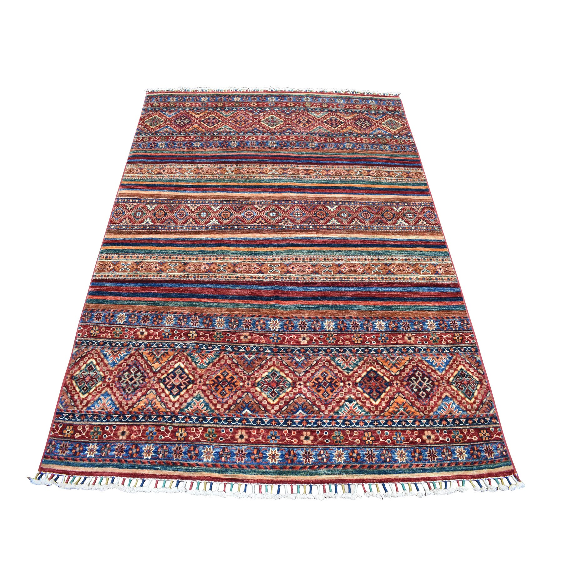 "5'x6'6"" Khorjin Design Colorful Super Kazak Pure Wool Hand Knotted Oriental Rug 52259"
