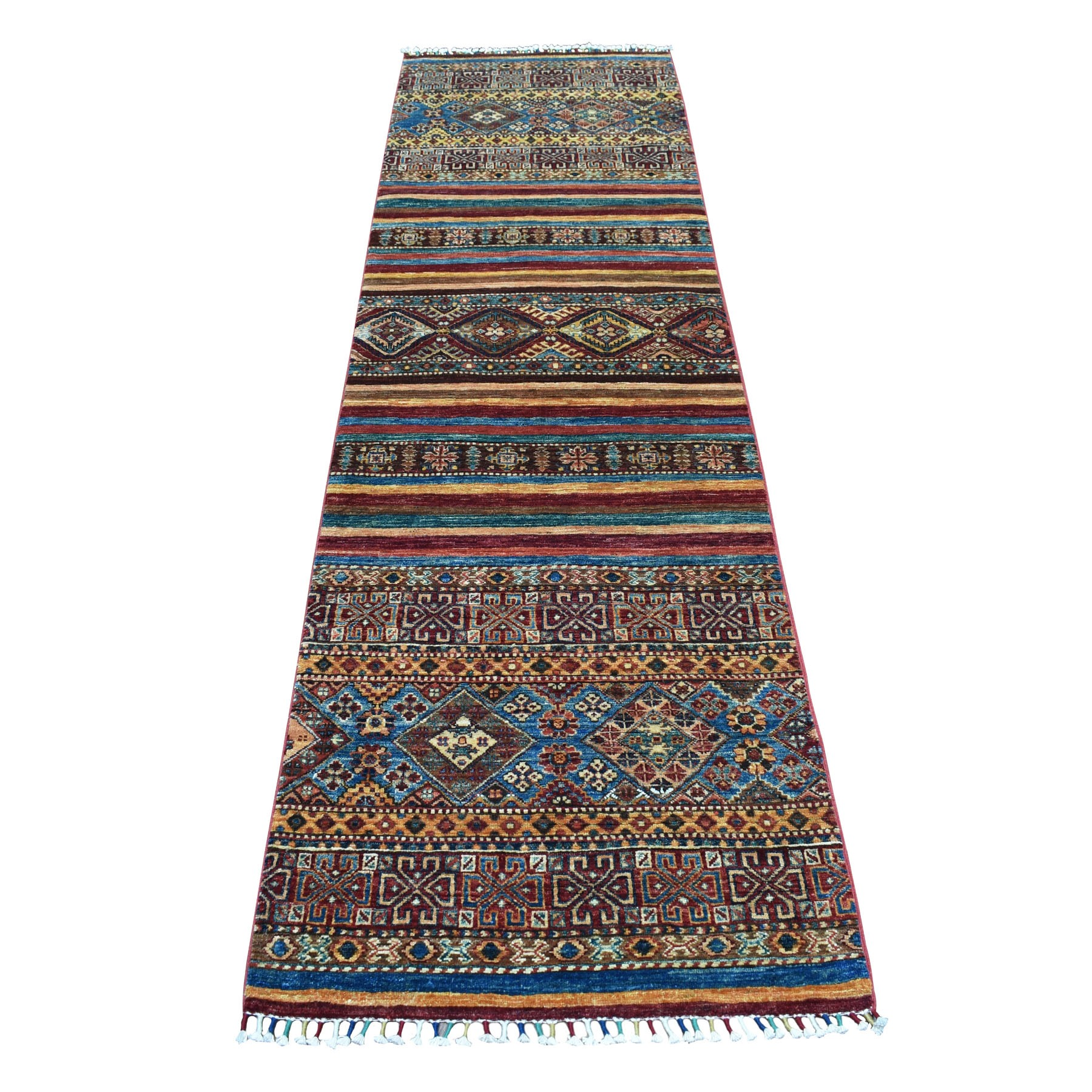 "2'9""X8'9"" Khorjin Design Colorful Runner Super Kazak Pure Wool Hand Knotted Oriental Rug moaebb6c"