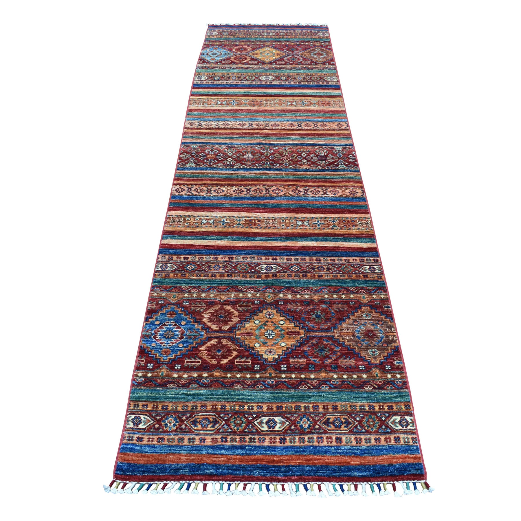 "2'7""X10'2"" Khorjin Design Colorful Runner Super Kazak Pure Wool Hand Knotted Oriental Rug moaebb6d"