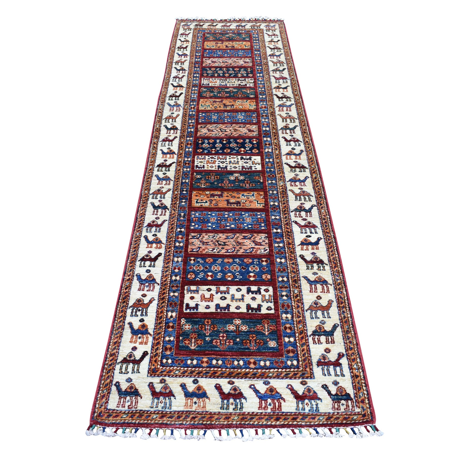"2'7""X10' Khorjin Design Colorful Runner Super Kazak Pure Wool Hand Knotted Oriental Rug moaebb6e"