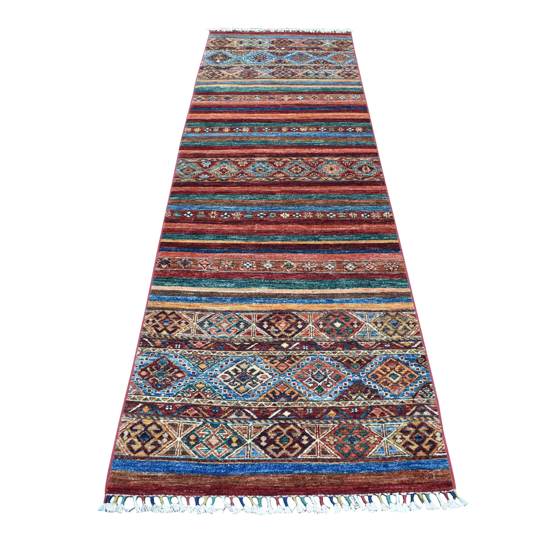 "2'9""X9'5"" Khorjin Design Colorful Runner Super Kazak Pure Wool Hand Knotted Oriental Rug moaebb66"