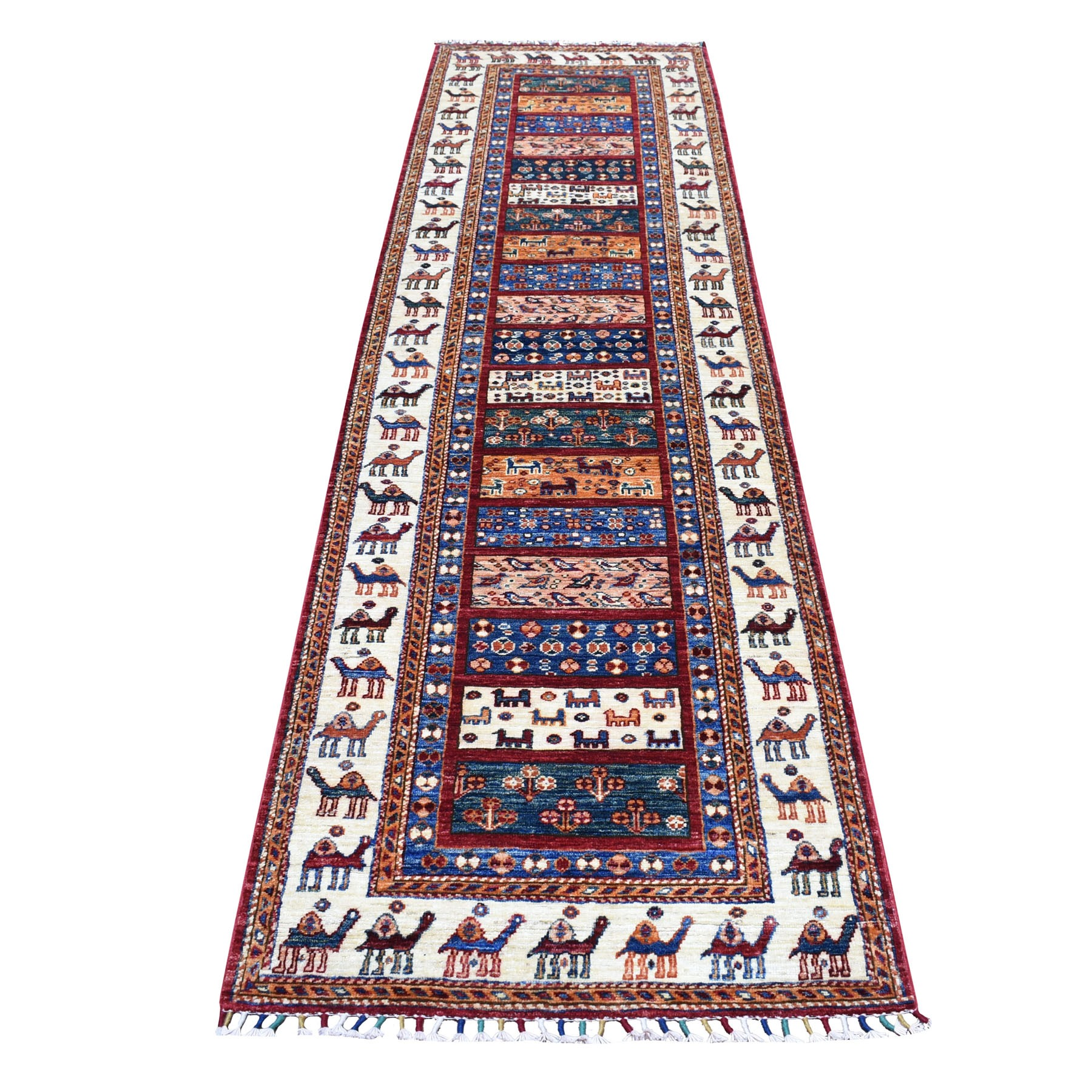 "2'8""X10' Khorjin Design Colorful Runner Super Kazak Pure Wool Hand Knotted Oriental Rug moaebb67"