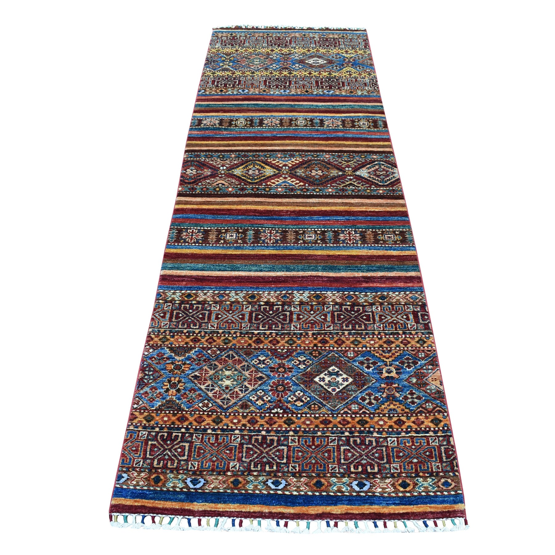 "2'8""X8'10"" Khorjin Design Colorful Runner Super Kazak Pure Wool Hand Knotted Oriental Rug moaebb68"