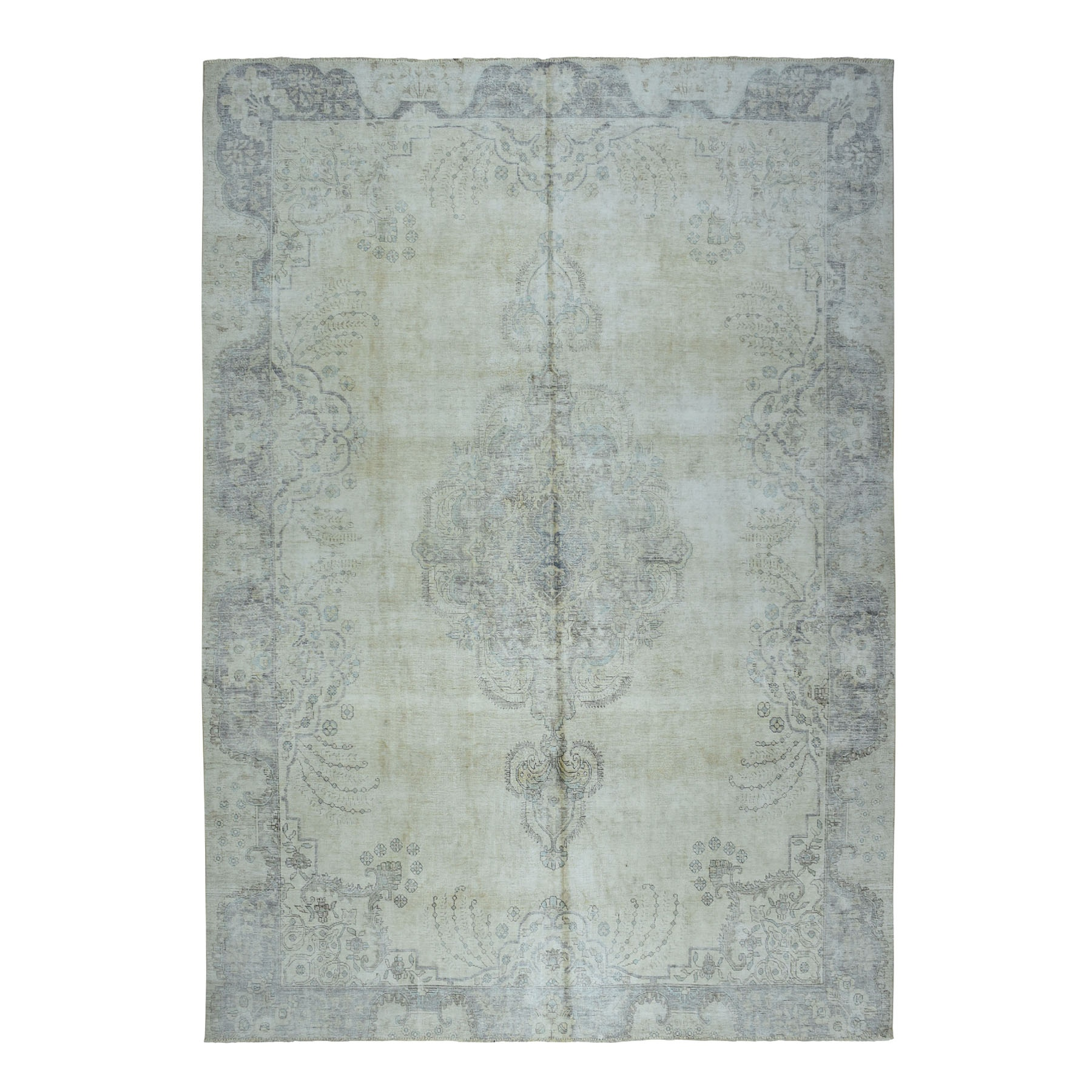 "10'x12'10"" Beige Vintage Persian Tabriz Worn Pile Hand Knotted Oriental Rug"