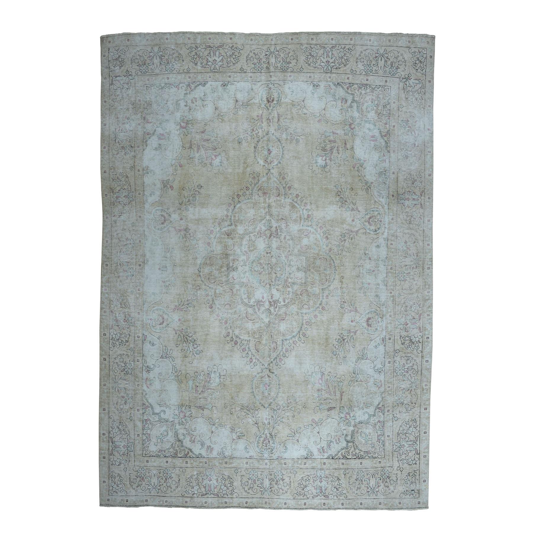 "9'3""X12'8"" Beige Vintage Persian Tabriz Worn Pile Hand Knotted Oriental Rug moaebb70"