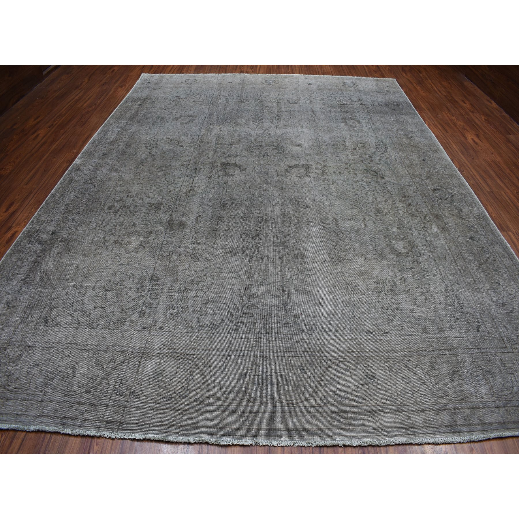 """9'8""""x13' Gray Vintage Persian Tabriz Worn Pile Hand Knotted Oriental Rug"""