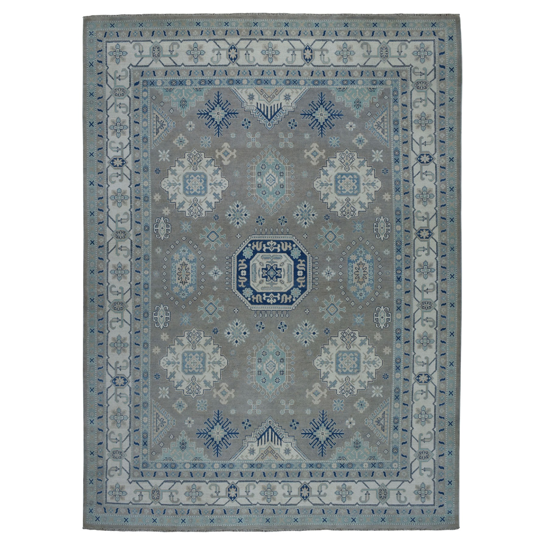 "8'9""X12' Gray Vintage Look Kazak Geometric Design Pure Wool Hand Knotted Oriental Rug moaebb7e"