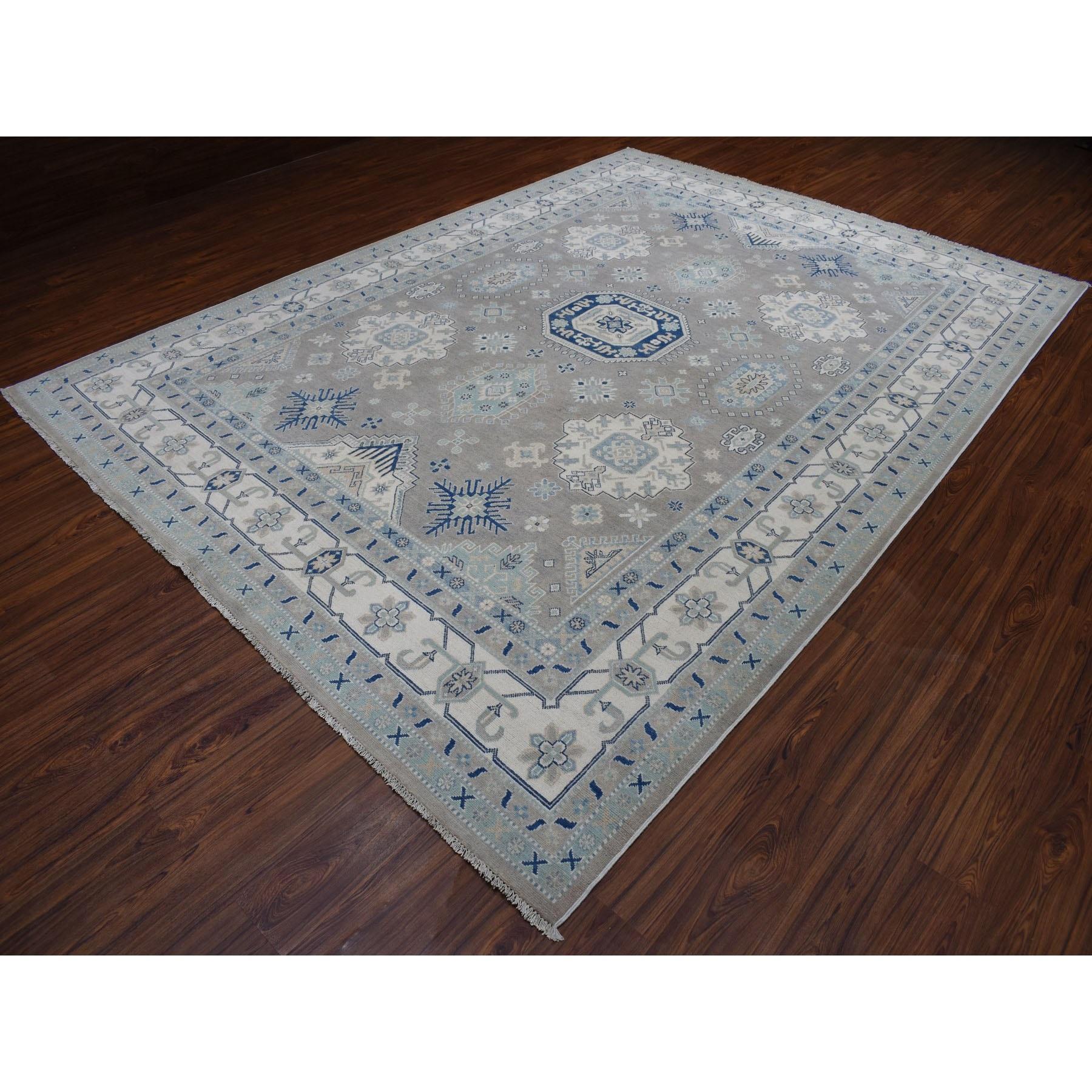 "8'9""x12' Gray Vintage Look Kazak Geometric Design Pure Wool Hand Knotted Oriental Rug"