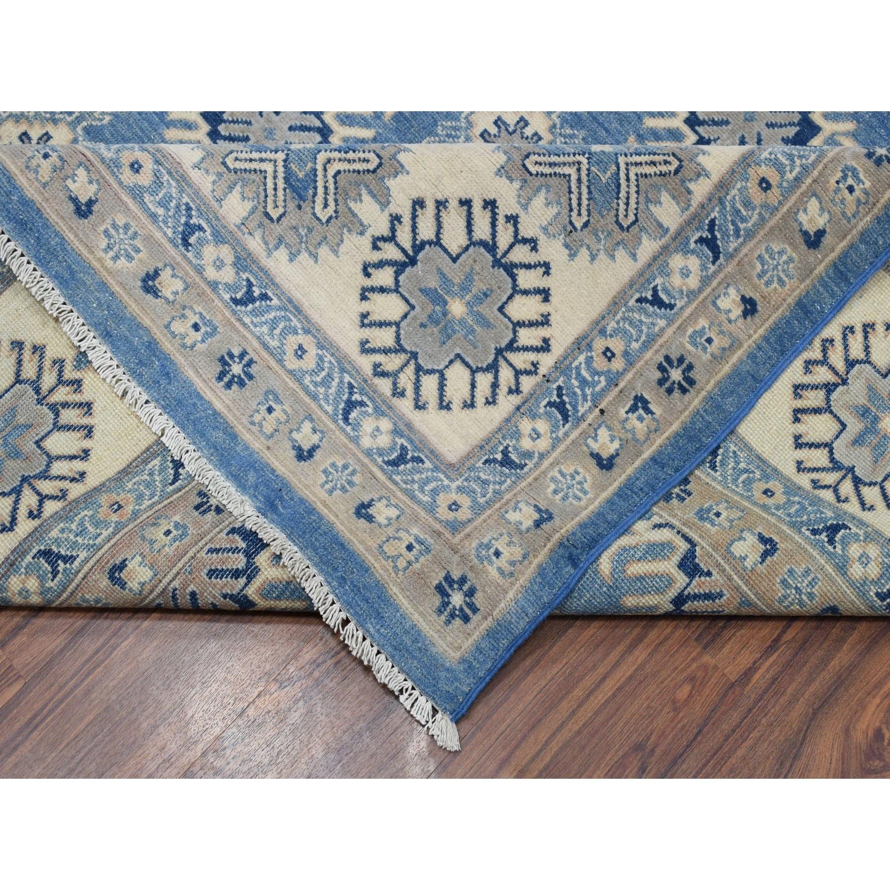 "9'8""x13'5"" Blue Vintage Look Kazak Geometric Design Pure Wool Hand Knotted Oriental Rug"