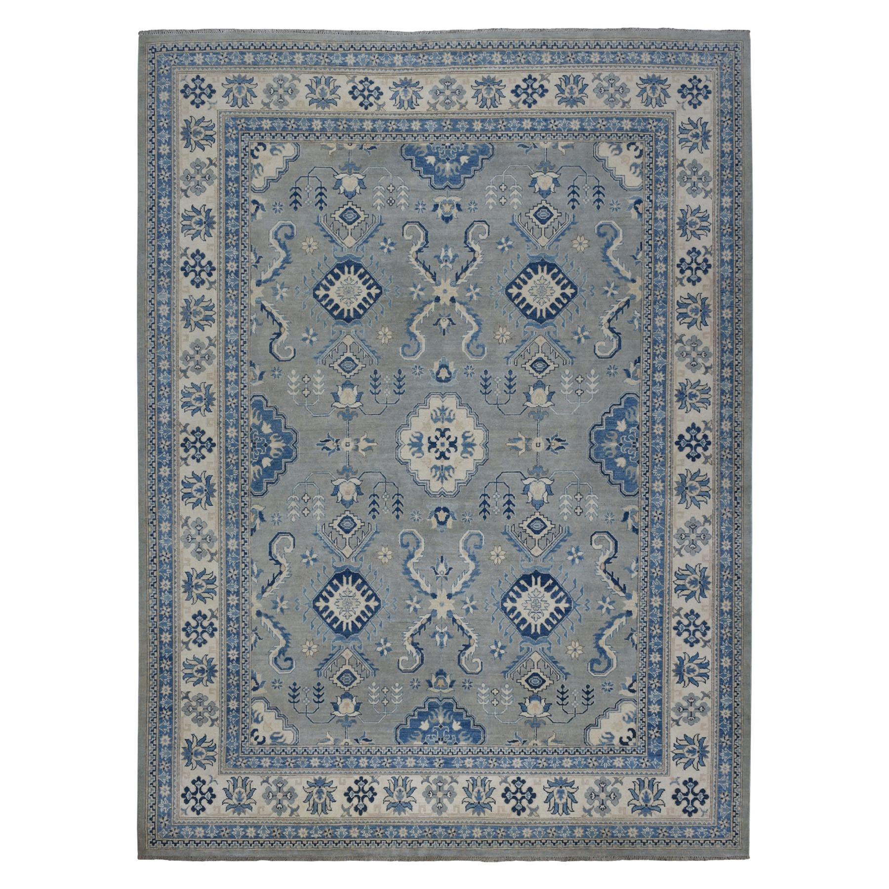"8'10""X11'5"" Gray Vintage Look Kazak Geometric Design Pure Wool Hand Knotted Oriental Rug moaebb77"
