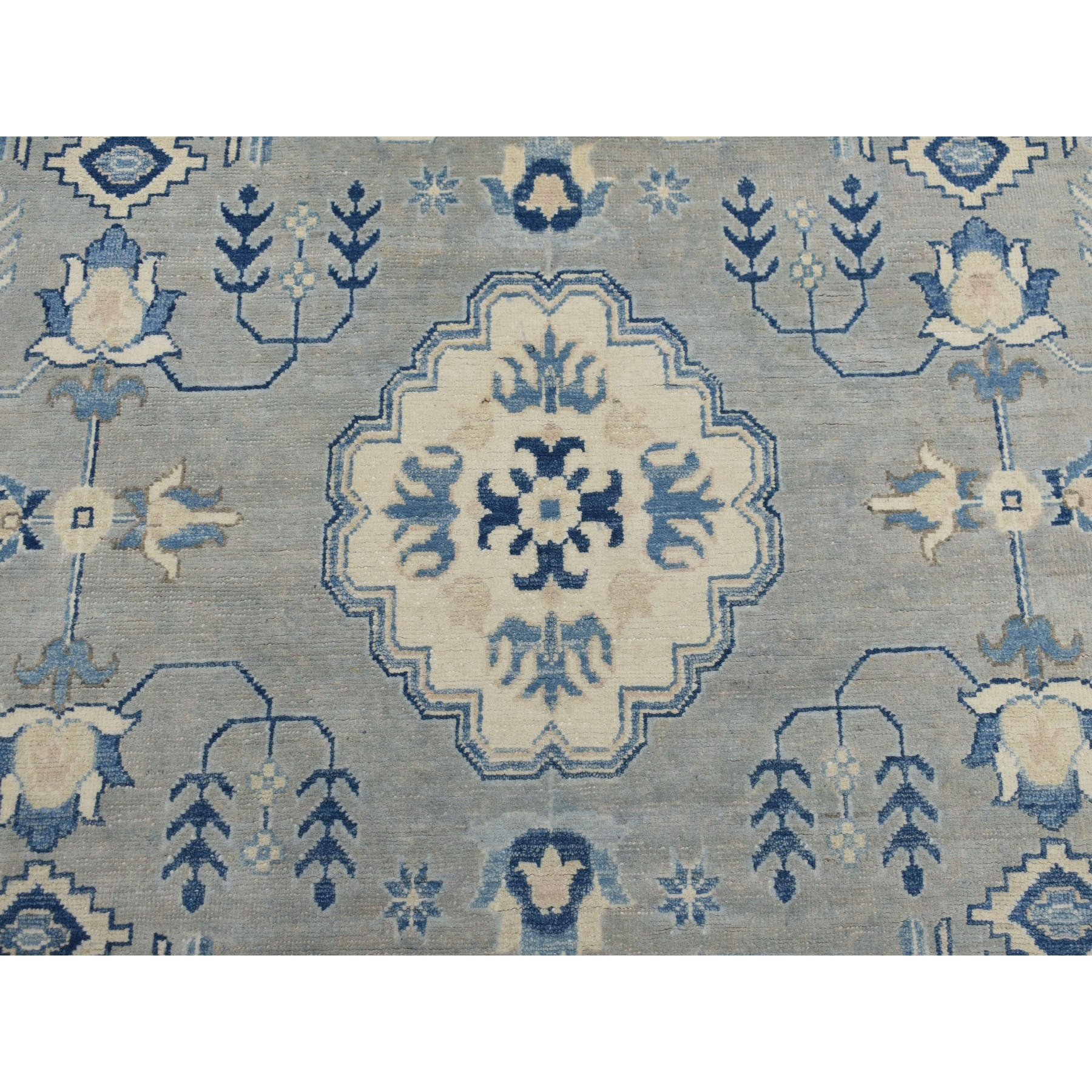 "8'10""x11'5"" Gray Vintage Look Kazak Geometric Design Pure Wool Hand Knotted Oriental Rug"