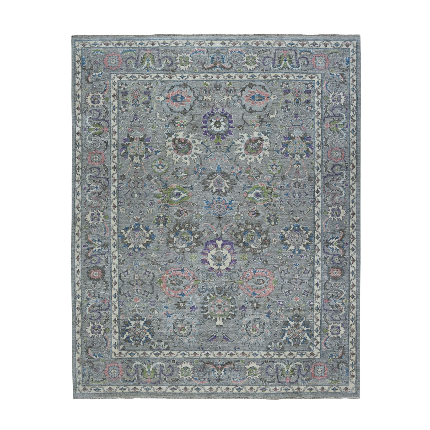 8'X10' Gray Peshawar, Colorful Collection Pure Wool Hand Knotted Oriental Rug moaebb79