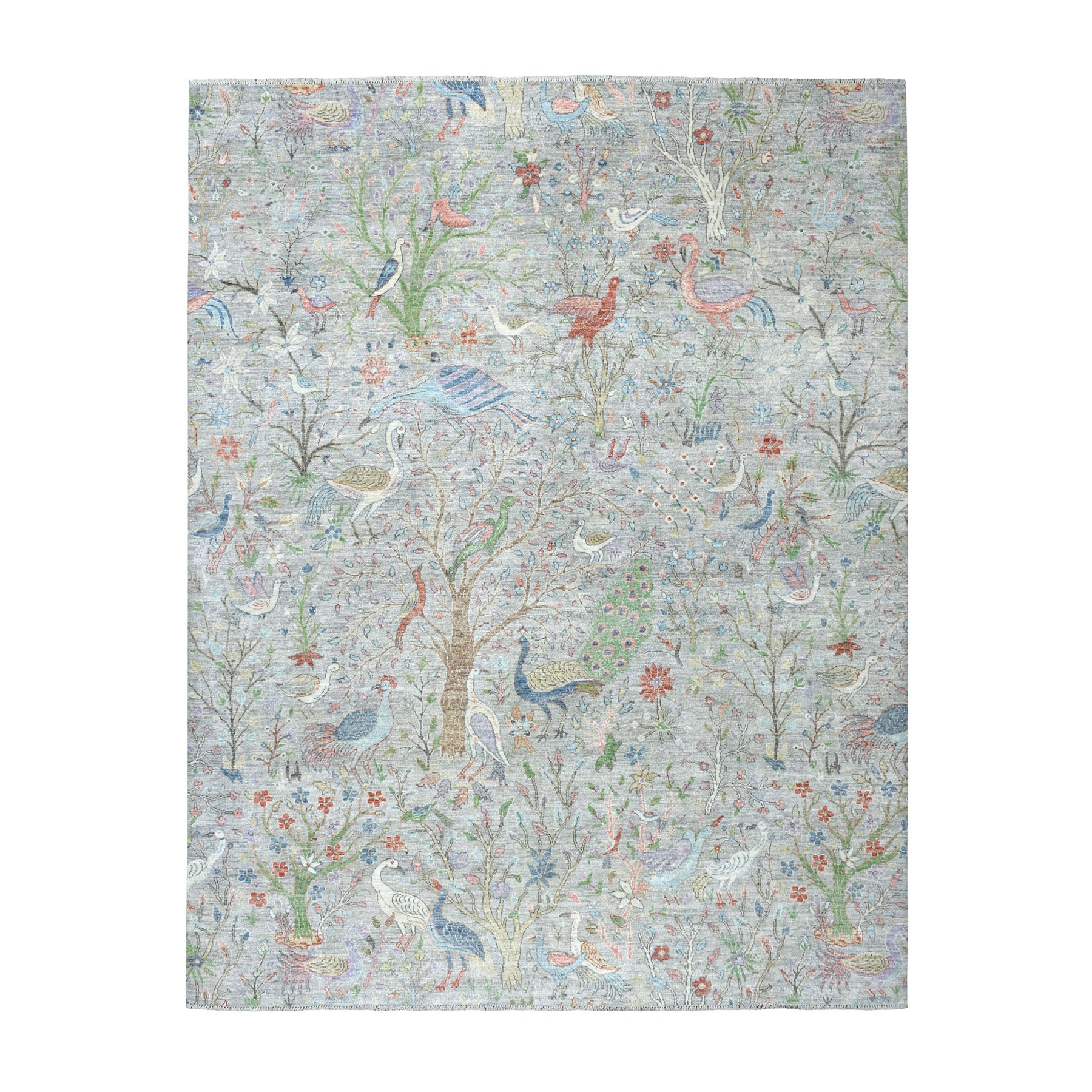 """8'X10'2"""" Birds Of Paradise Peshawar Pure Wool Hi And Lo Textured Hand Knotted Oriental Rug moaebb8c"""