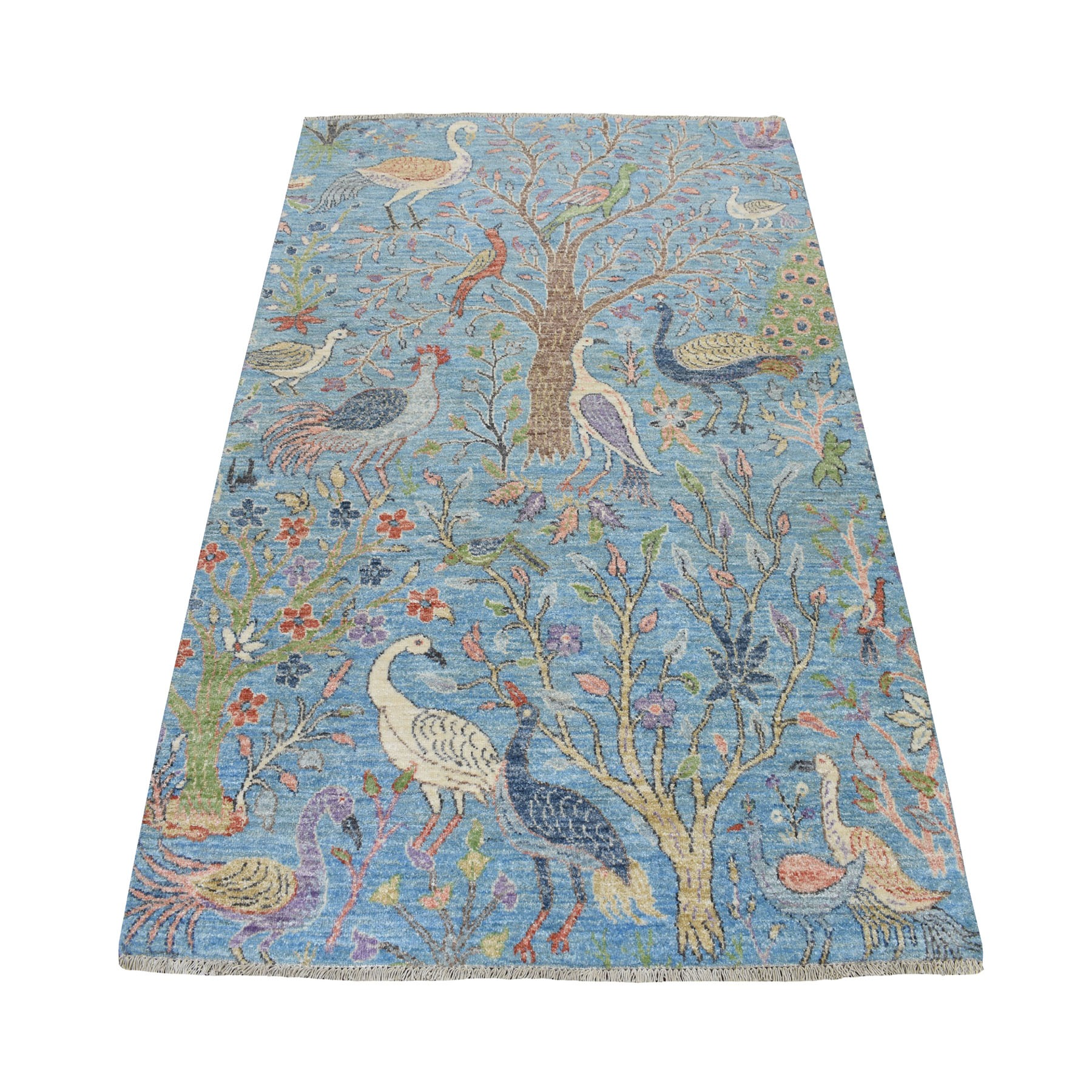 "4'1""X6' Blue Birds Of Paradise Peshawar Pure Wool Hand Knotted Oriental Rug moaebb8e"