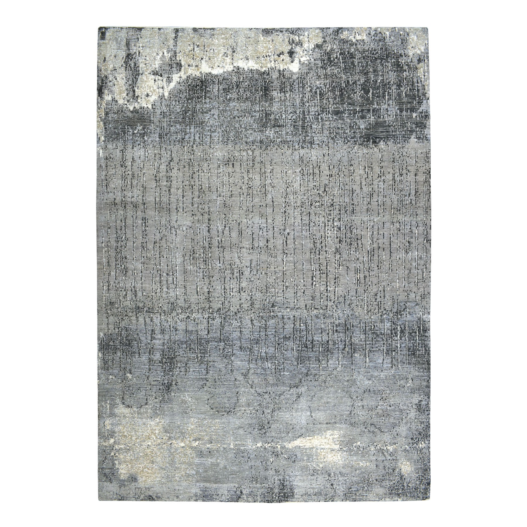 "10'2""X14'3"" Gray Pure Wool Abstract Design Hand Knotted Oriental Rug moaebb86"