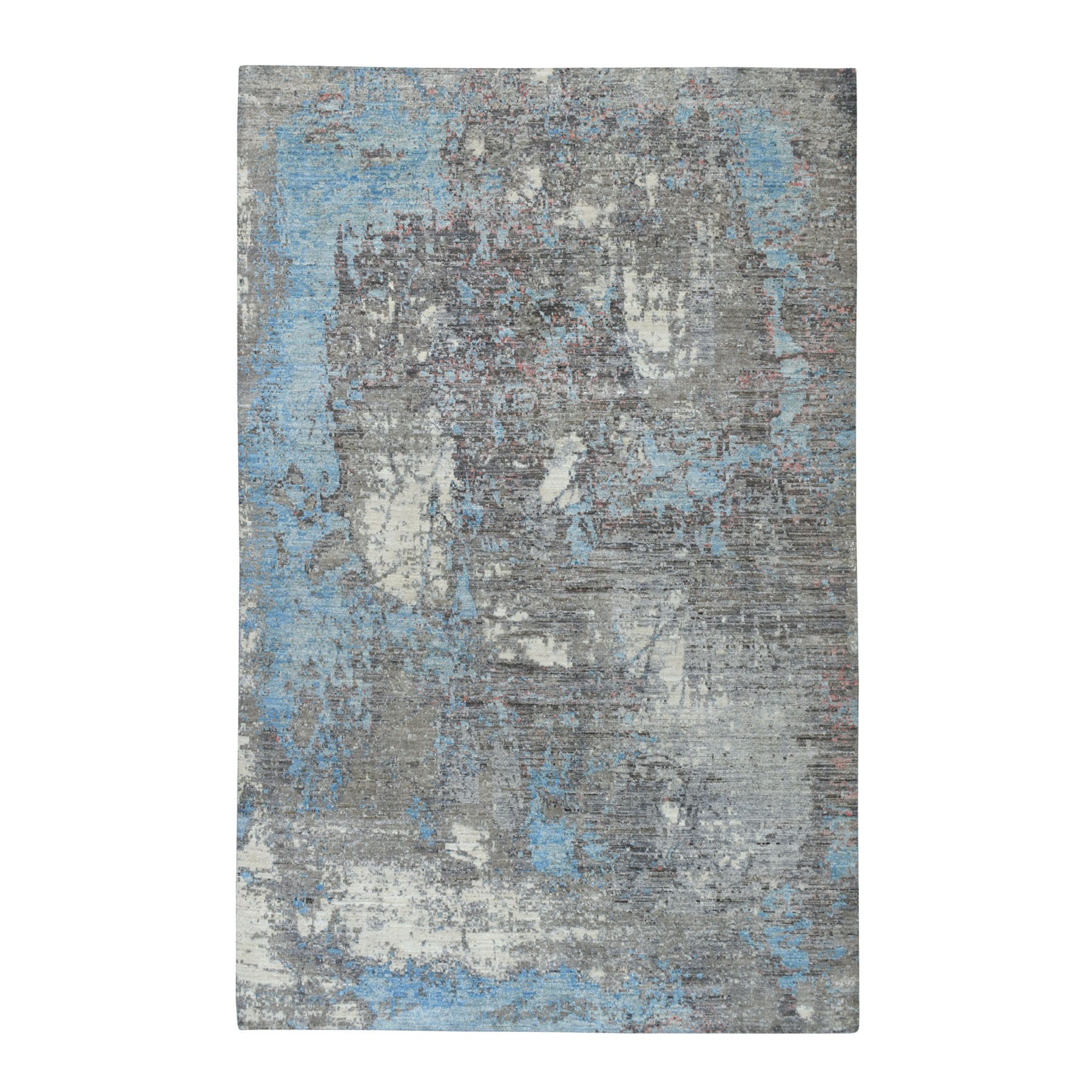 "6'X9'2"" Gray Pure Wool Abstract Design Hand Knotted Oriental Rug moaebb87"