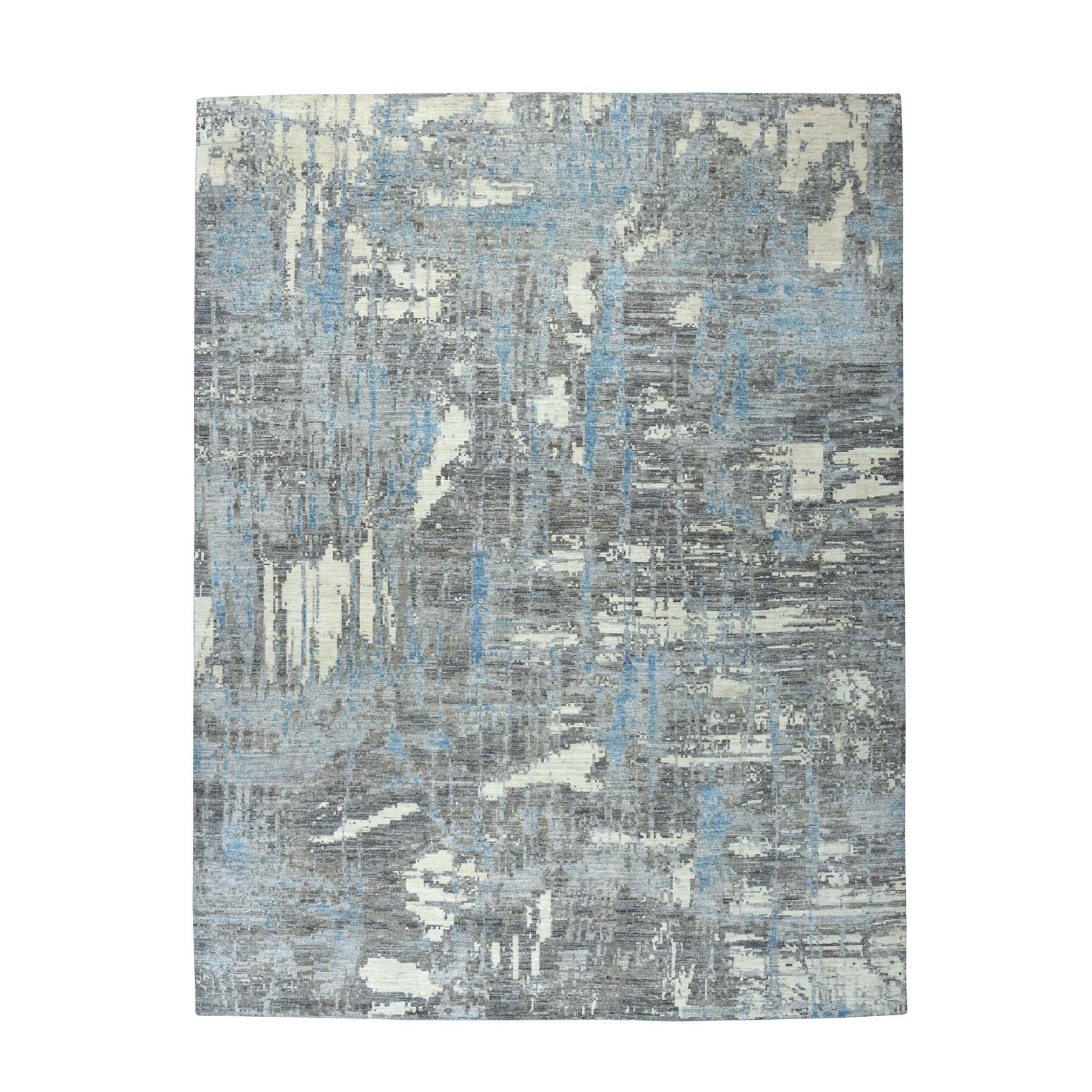"8'X10'3"" Gray Pure Wool Abstract Design Hand Knotted Oriental Rug moaebb88"