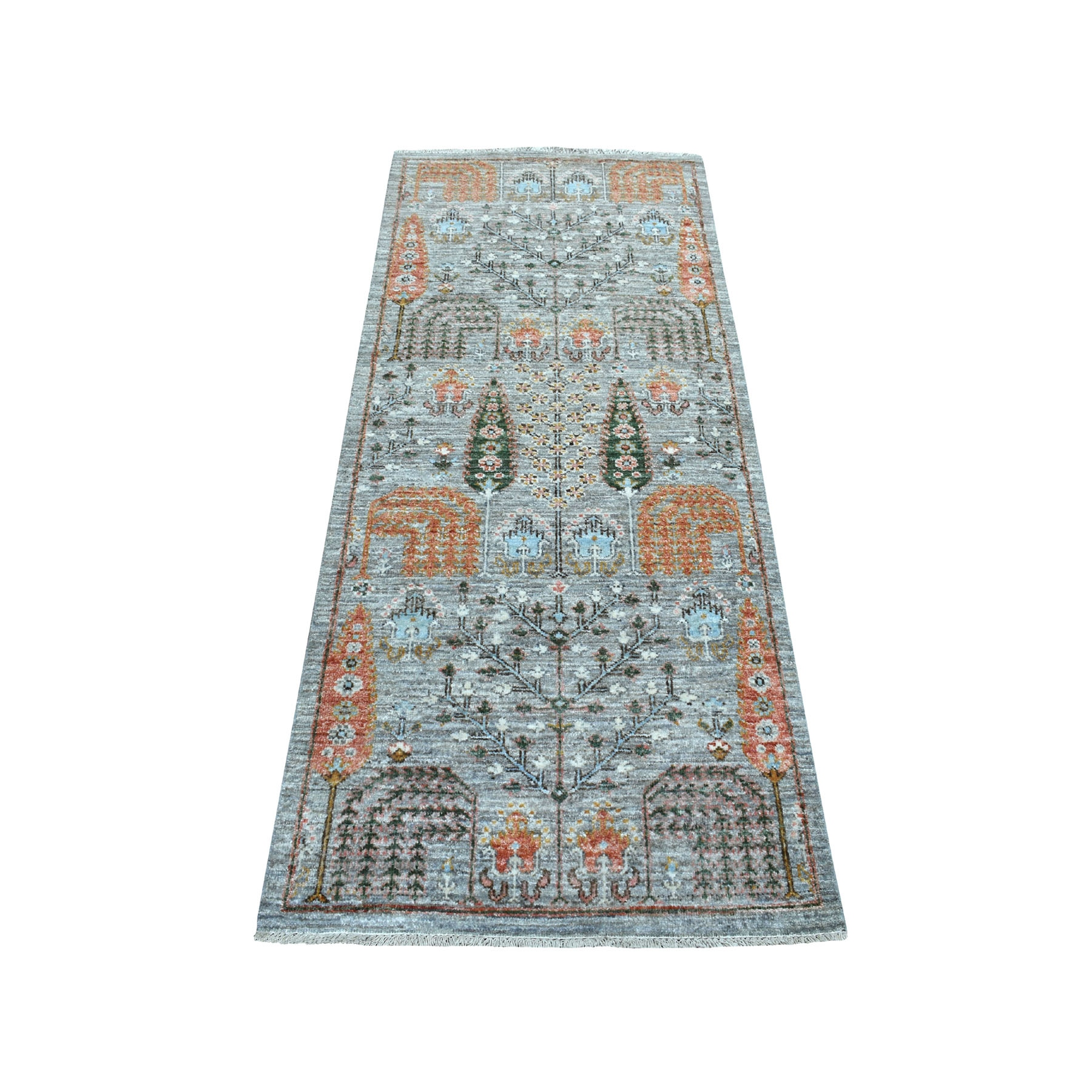 "2'6""X6' Gray Peshawar Willow And Cypress Tree Design Hand Knotted Oriental Runner Rug moaebb89"