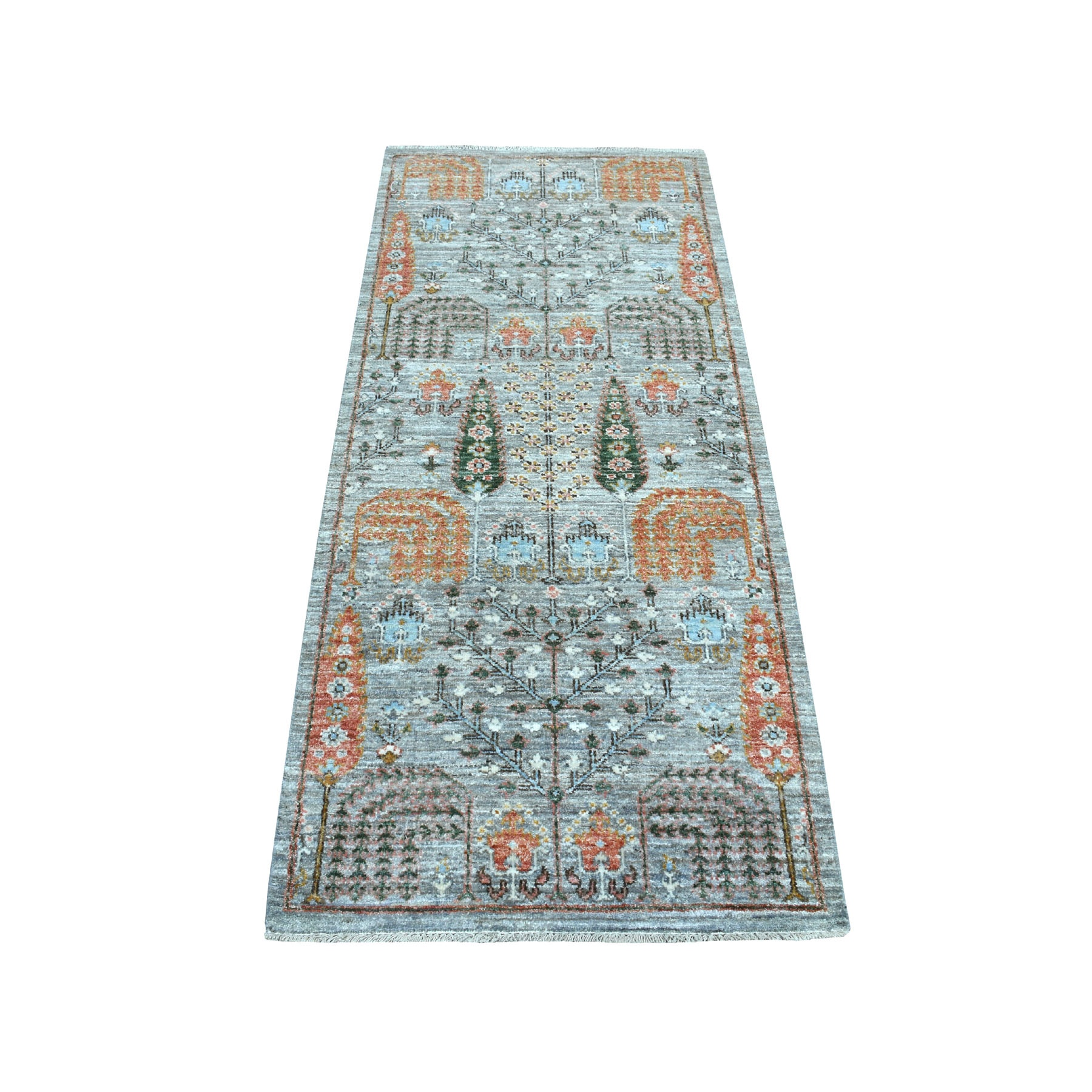 "2'6""X6' Gray Peshawar Willow And Cypress Tree Design Hand Knotted Oriental Runner Rug moaebb9a"