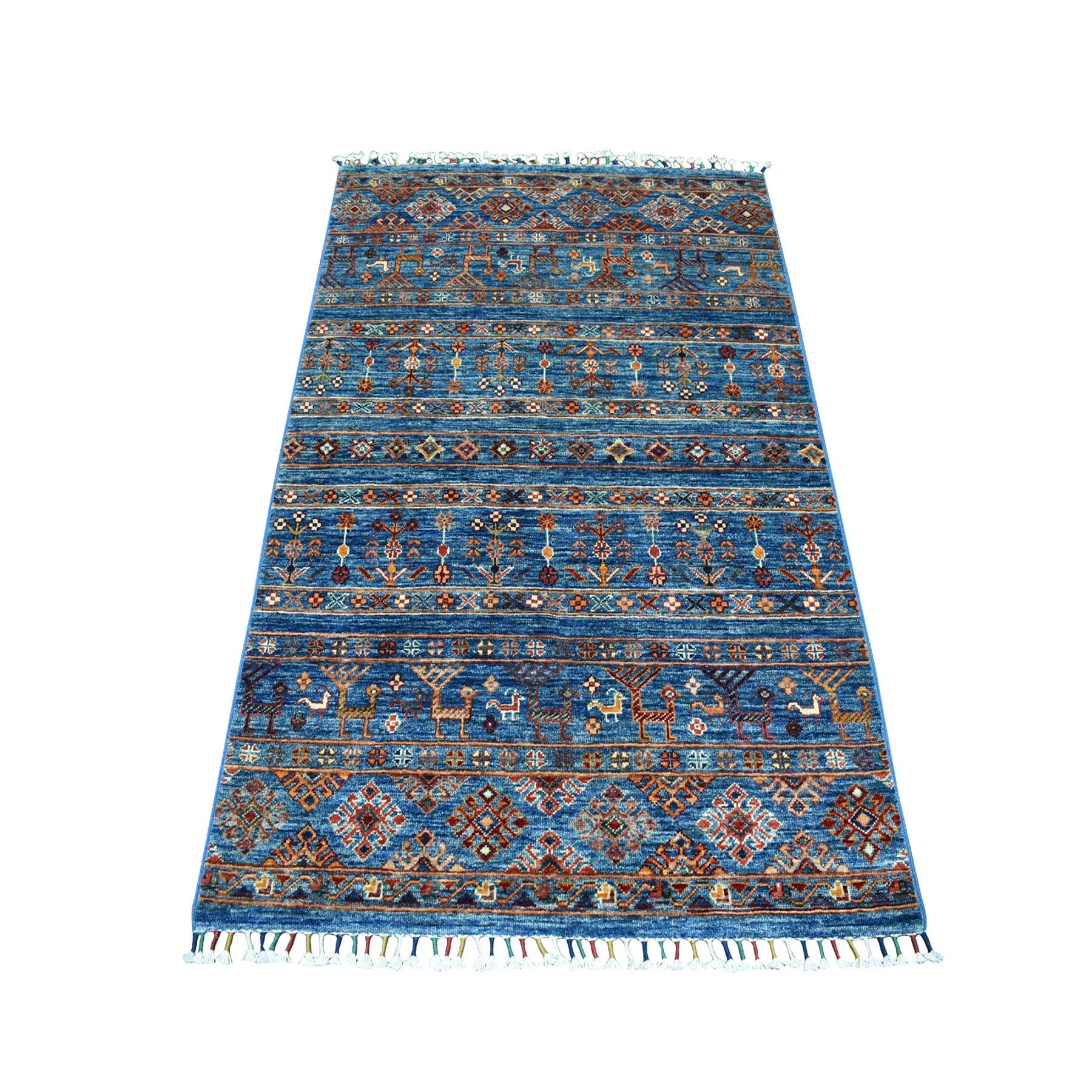 "3'3""X5'2"" Khorjin Design Blue Super Kazak Pure Wool Hand Knotted Oriental Rug moaebc00"