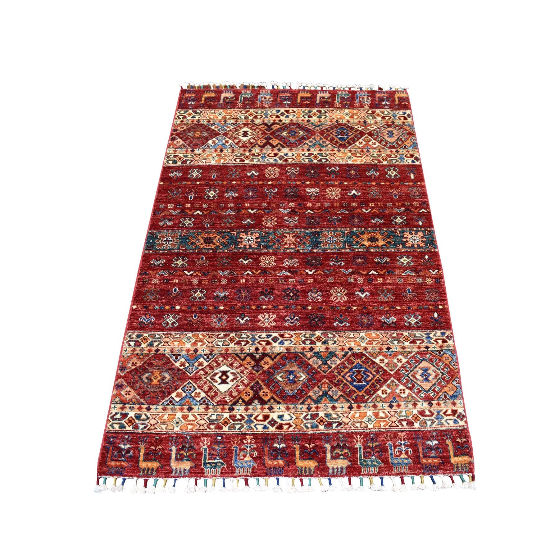 "3'4""x5' Khorjin Design Red Super Kazak Pure Wool Hand Knotted Oriental Rug"